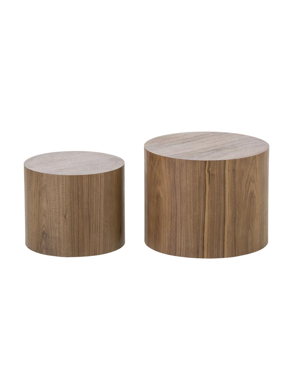 Table d'appoint ronde en bois Dan, 2élém., Aspect noyer