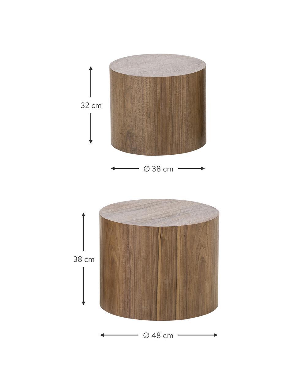 Bijzettafelset Dan van hout, 2-delig, MDF met walnoothoutfineer, Donkerbruin, Set met verschillende formaten