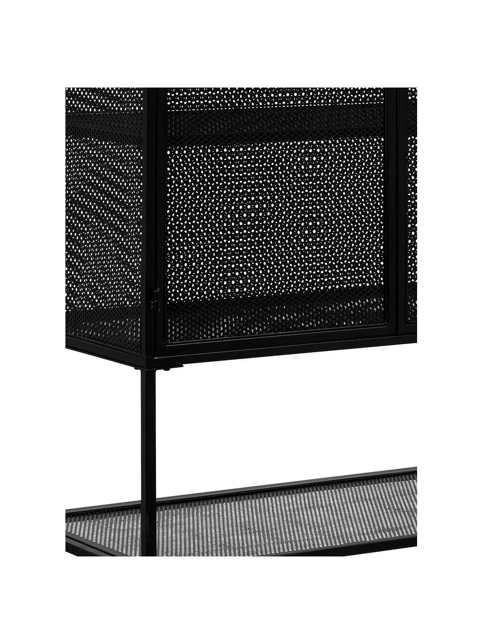 Metall-Vitrine Wire in Schwarz, Metall, pulverbeschichtet, Schwarz, 90 x 167 cm