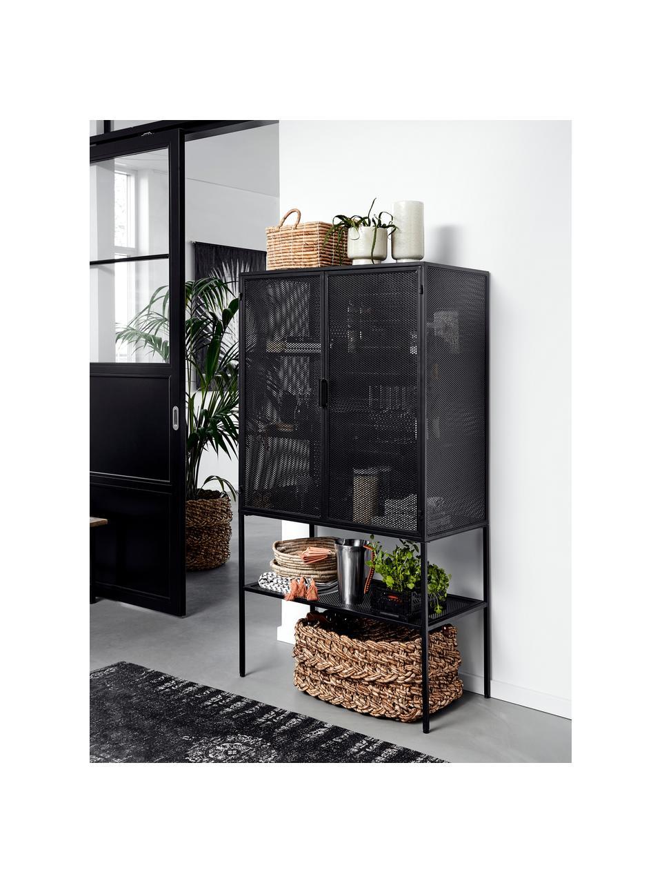 Wysoka witryna z metalu Wire, Metal malowany proszkowo, Czarny, S 90 x W 167 cm