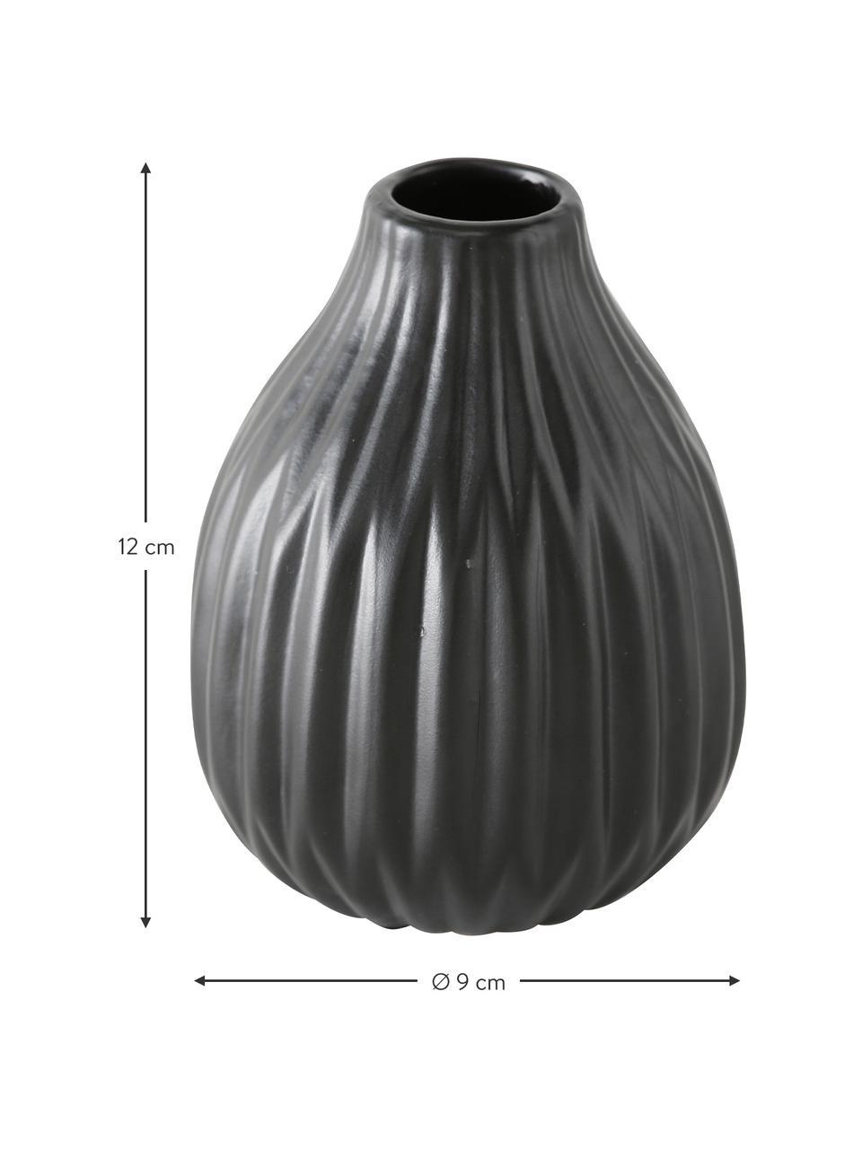 Set 3 vasi in porcellana Esko, Porcellana, Nero, Set in varie misure