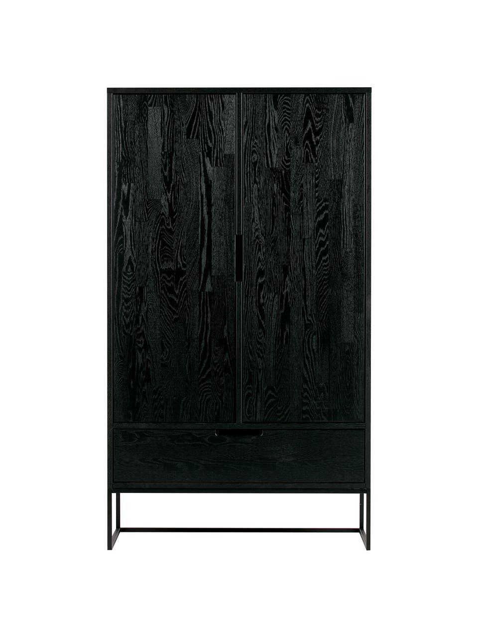 Wysoka komoda z drewna Silas, Korpus: drewno dębowe, szczotkowa, Nogi: metal lakierowany, Czarny, S 85 x W 149 cm