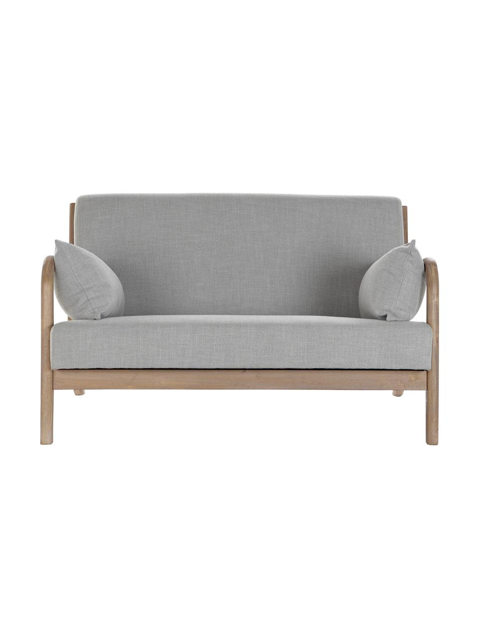 Divano 2 posti in lino grigio chiaro Betty, Rivestimento: lino, Struttura: legno di albero della gom, Grigio, Larg. 122 x Prof. 83 cm