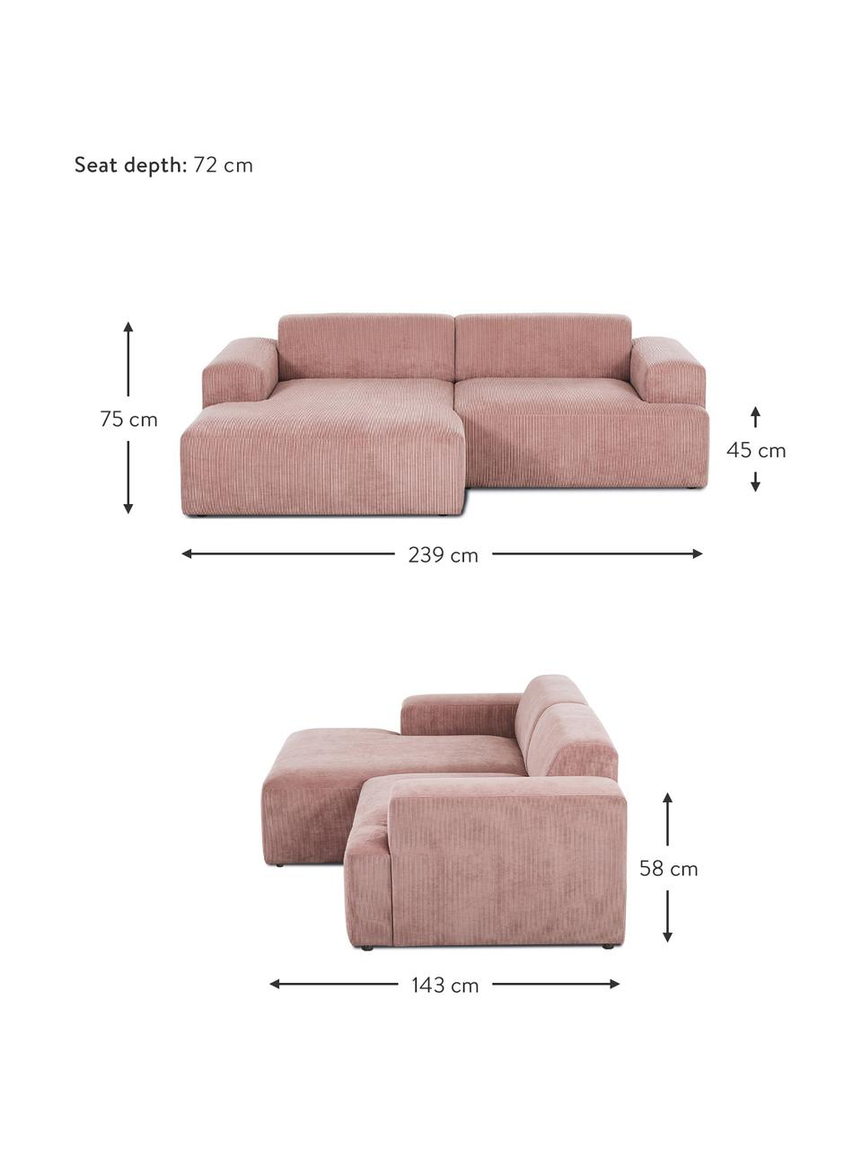 Ribfluwelen hoekbank Melva (3-zits) in roze, Bekleding: corduroy (92% polyester, , Frame: massief grenenhout, FSC-g, Poten: kunststof, Corduroy roze, B 239 x D 143 cm