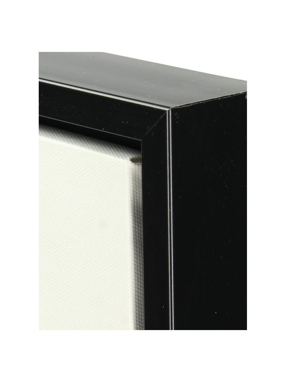 Impression sur toile encadrée Opal, Blanc, noir