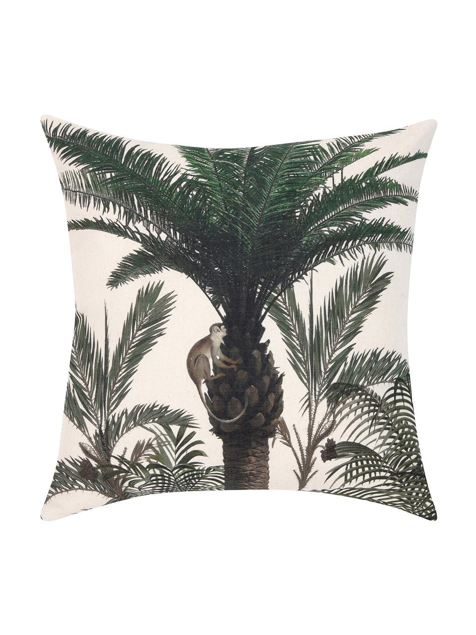 Kissenhülle Balu mit Palmenprint, 100% Baumwolle, Ecru, Grün, 40 x 40 cm