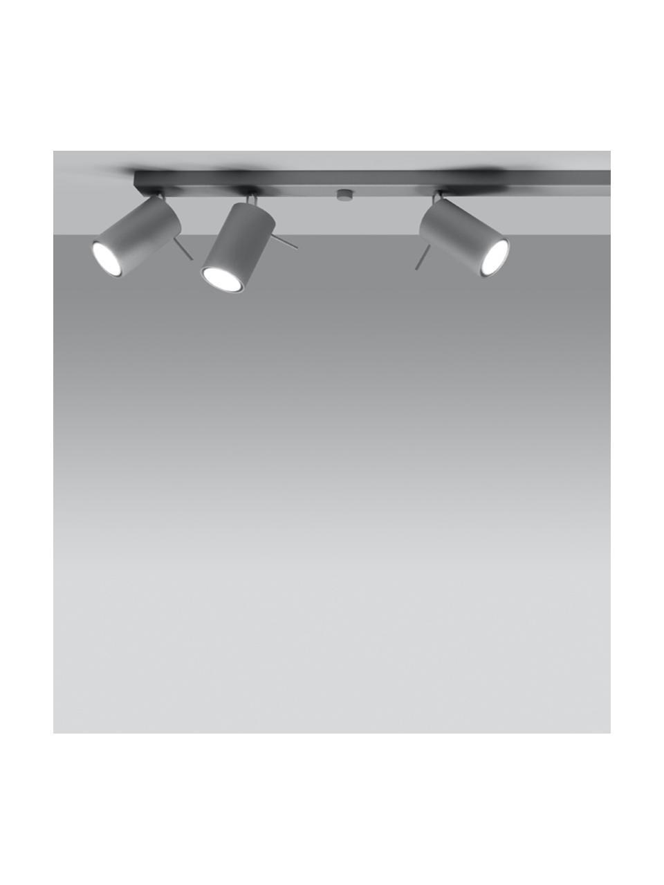 Großer Deckenstrahler Etna in Grau, Baldachin: Stahl, lackiert, Grau, 120 x 15 cm