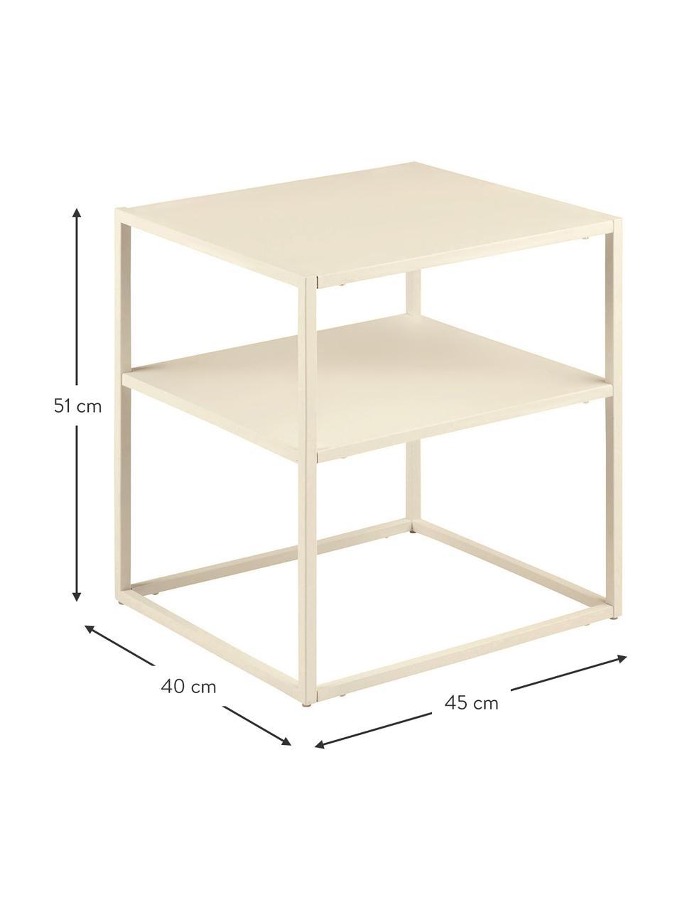 Tavolino in metallo beige Newton, Metallo verniciato a polvere, Beige, Larg. 45 x Prof. 40 cm