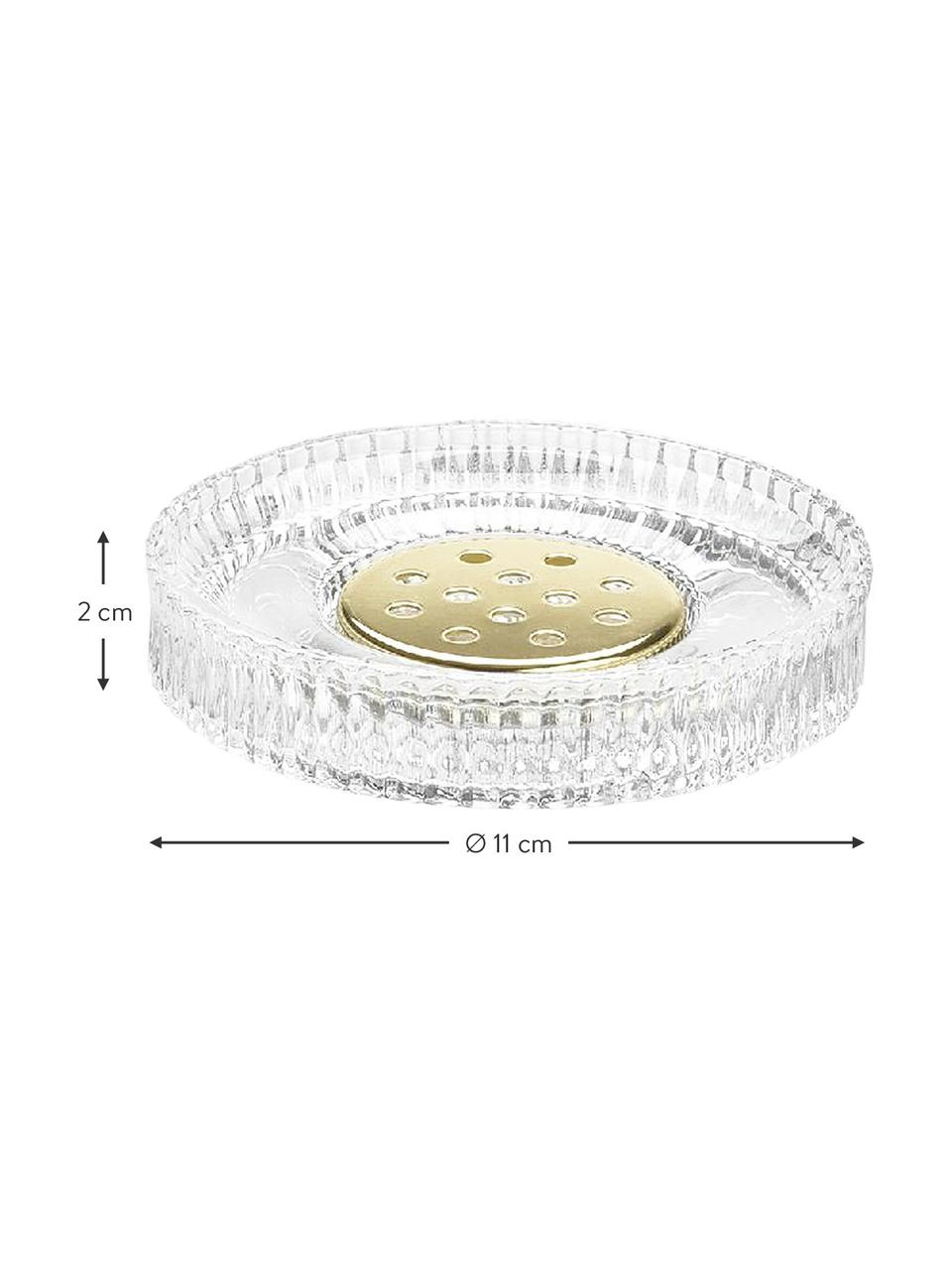 Zeepbakje Gulji van glas, Glas, Transparant, goudkleurig, Ø 11 x H 2 cm