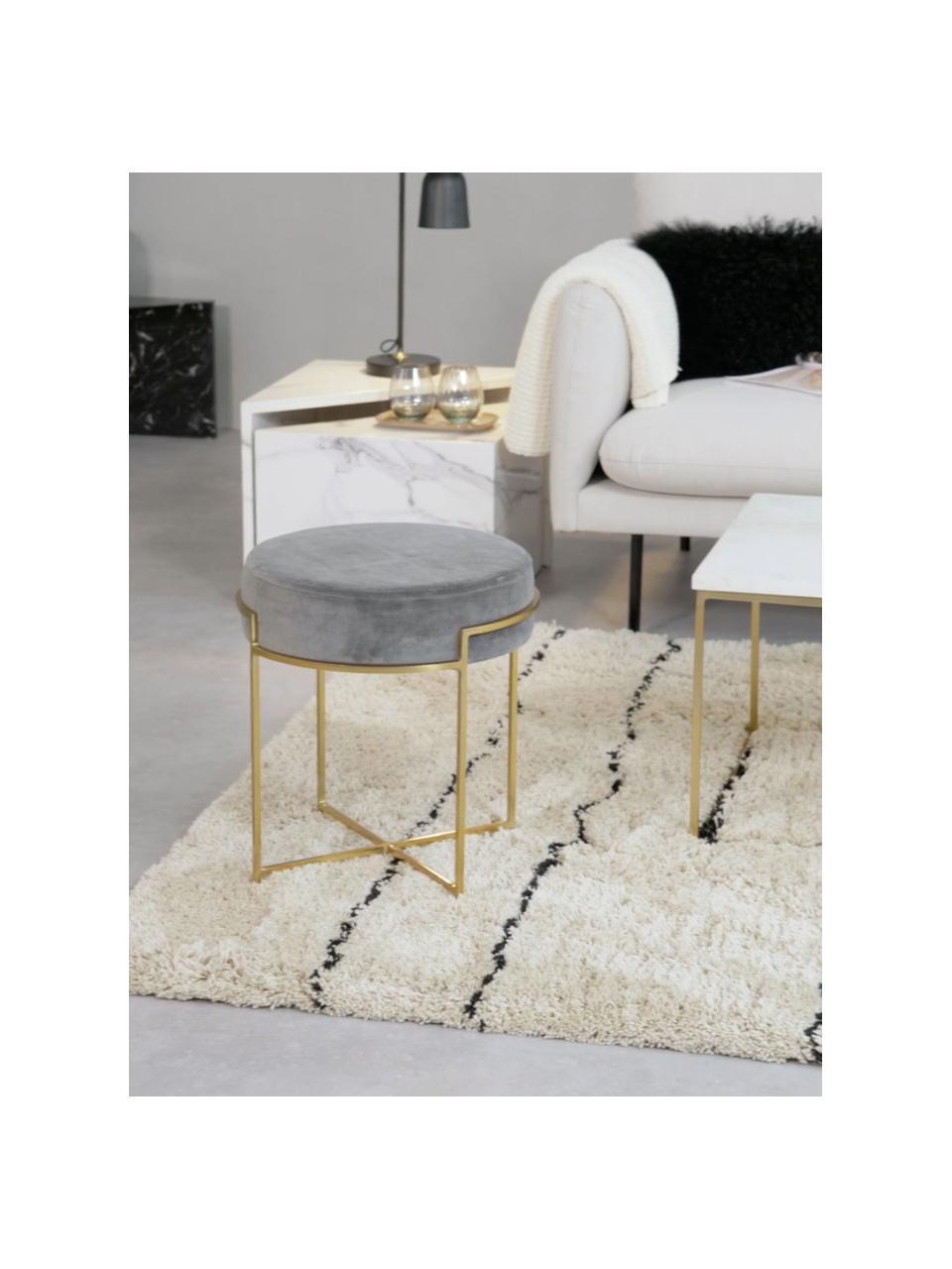 Sgabello in velluto Madeleine, Rivestimento: velluto di cotone, Rivestimento: grigio scuro Base: dorato opaco, Ø 40 x Alt. 45 cm