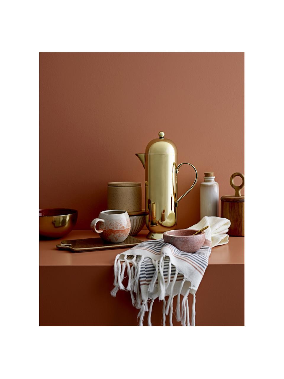 Komplet miski z marmuru i łyżeczki Spoon, 2 elem., Różowy, marmurowy, Ø 10 x W 5 cm