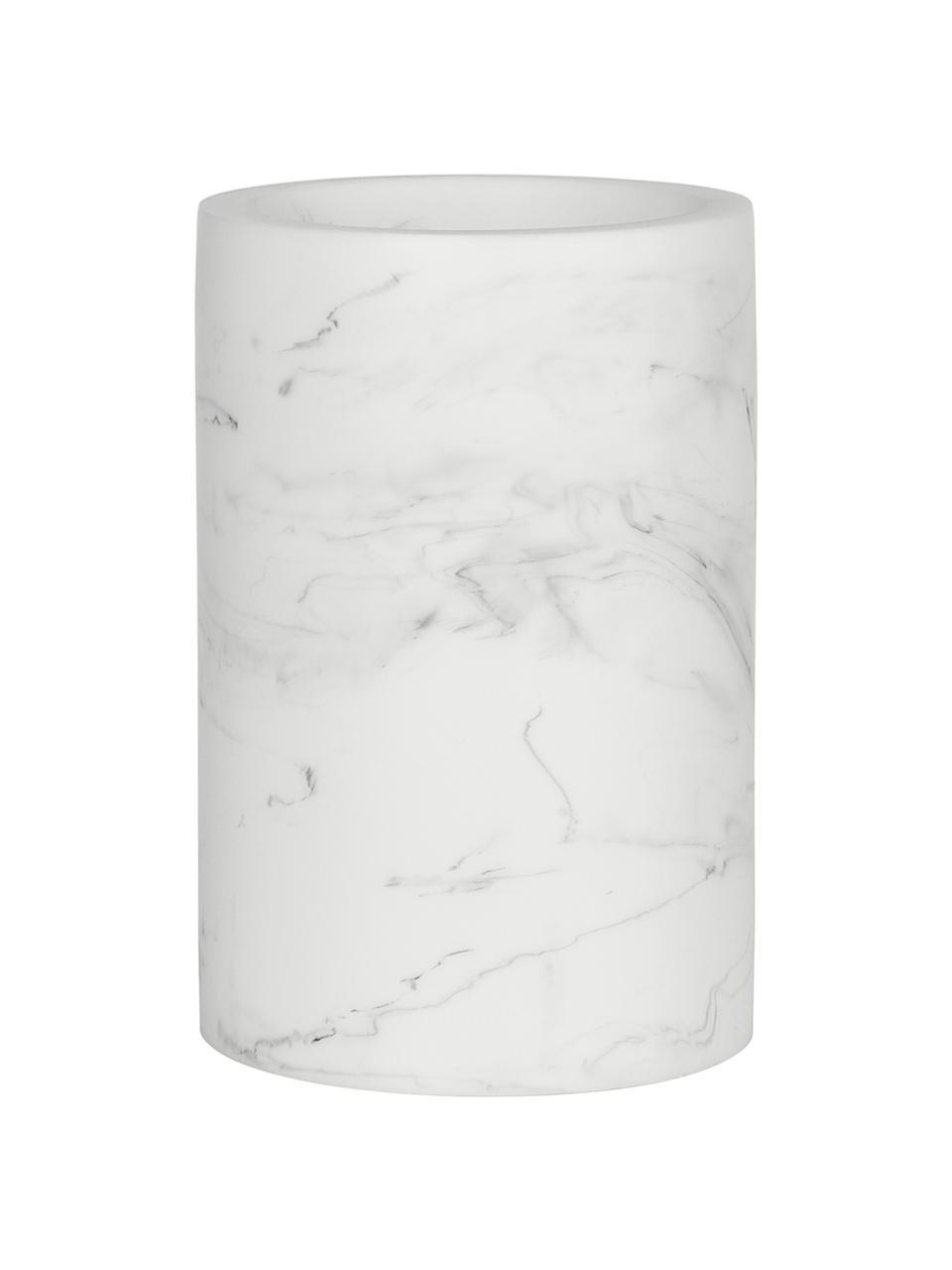 Zahnputzbecher Swan in Marmor-Optik, Kunststoff (Polyresin), Weiß, marmoriert, Ø 7 x H 11 cm