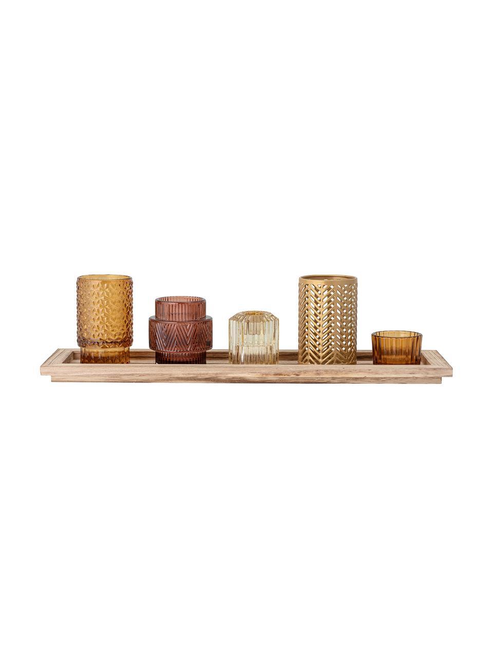Komplet świeczników ze szkła Elviena, 6 elem., Odcienie brązowego, transparentny, S 43 x W 11 cm