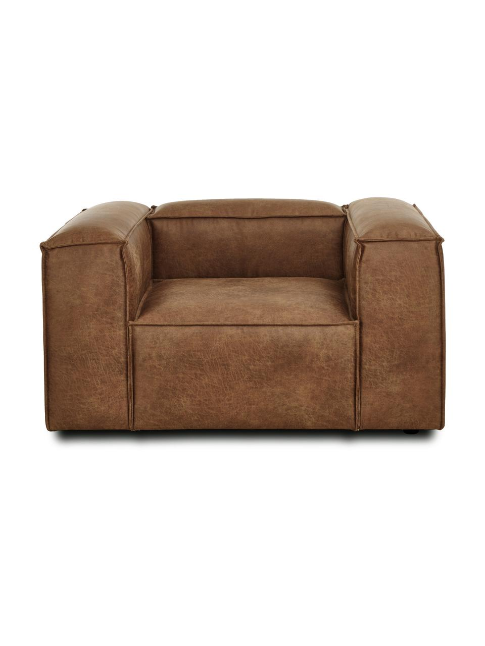 Fotel ze skóry z recyklingu Lennon, Tapicerka: skóra z recyklingu (70% s, Nogi: tworzywo sztuczne, Skórzany brązowy, S 130 x G 101 cm