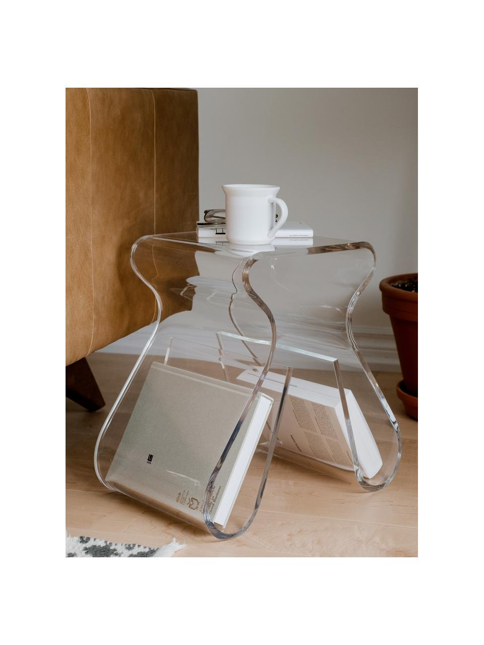 Stołek Loop, Akryl, Transparentny, S 42 x W 43 cm