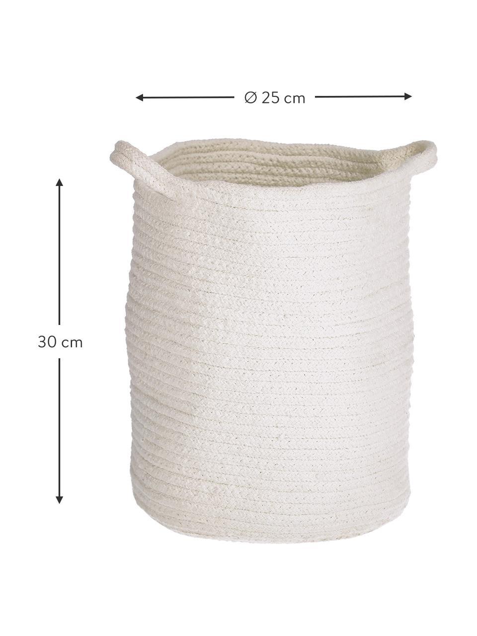Cesto portaoggetti in cotone bianco fatto a mano Abeni, 100% cotone, Bianco, Ø 25 x Alt. 30 cm