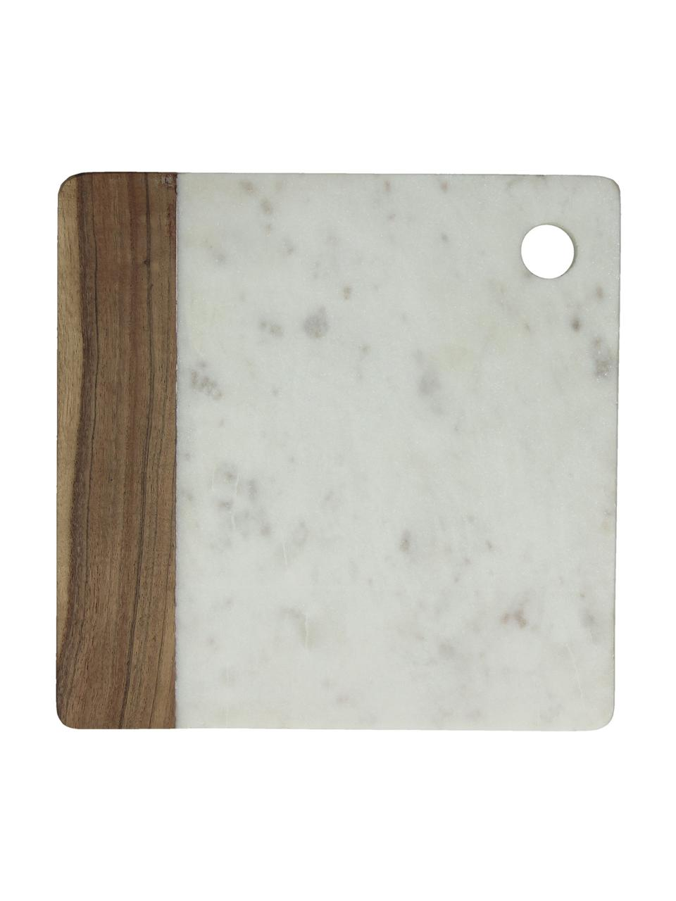 Planche à découper en marbre Idli, 25 x 25cm, Blanc marbré, bois d'acacia