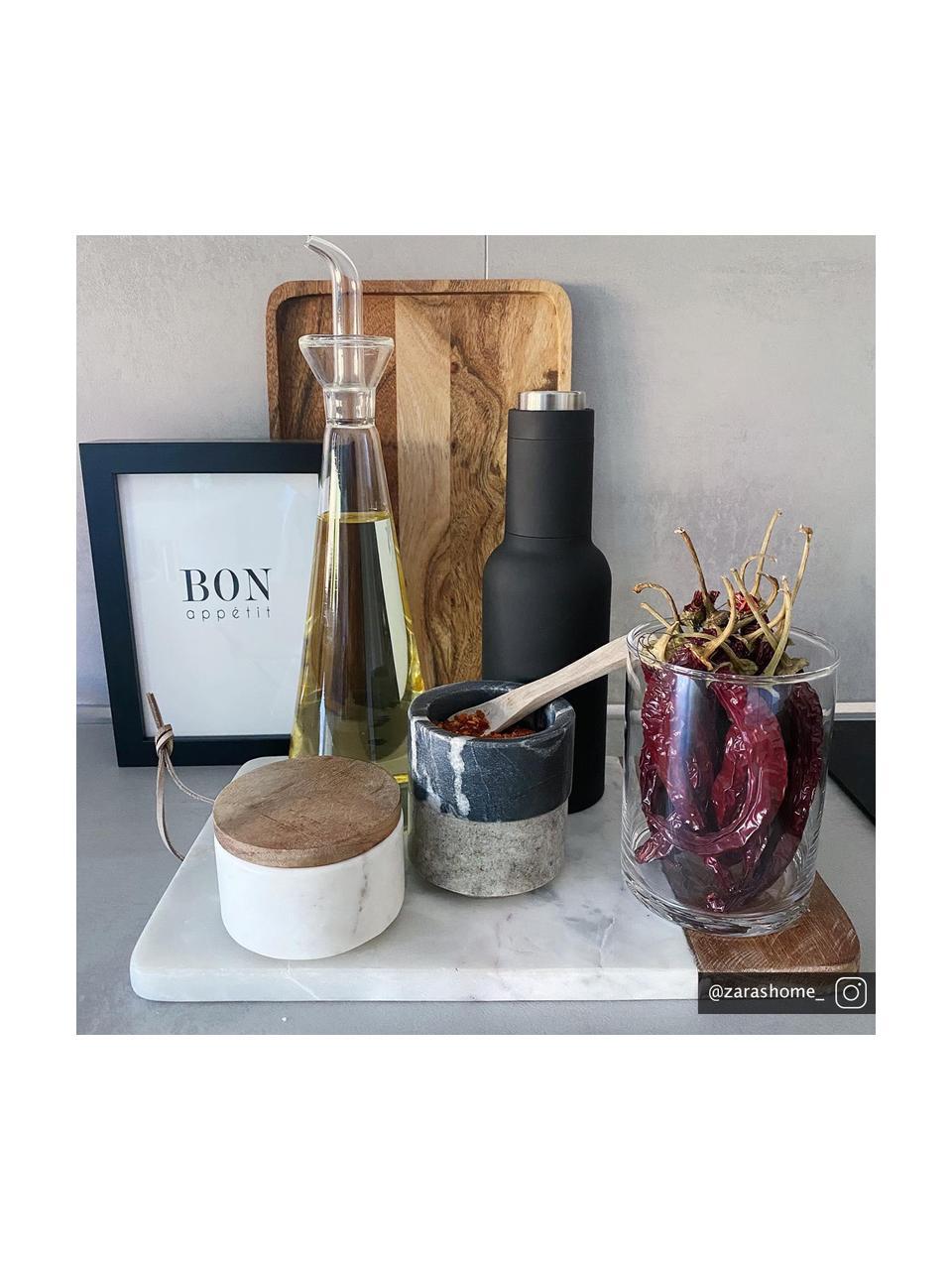 Marmeren snijplank Idli, L 25 x B 25 cm, Marmer, acaciahout, Wit gemarmerd, acaciakleurig, 25 x 25 cm