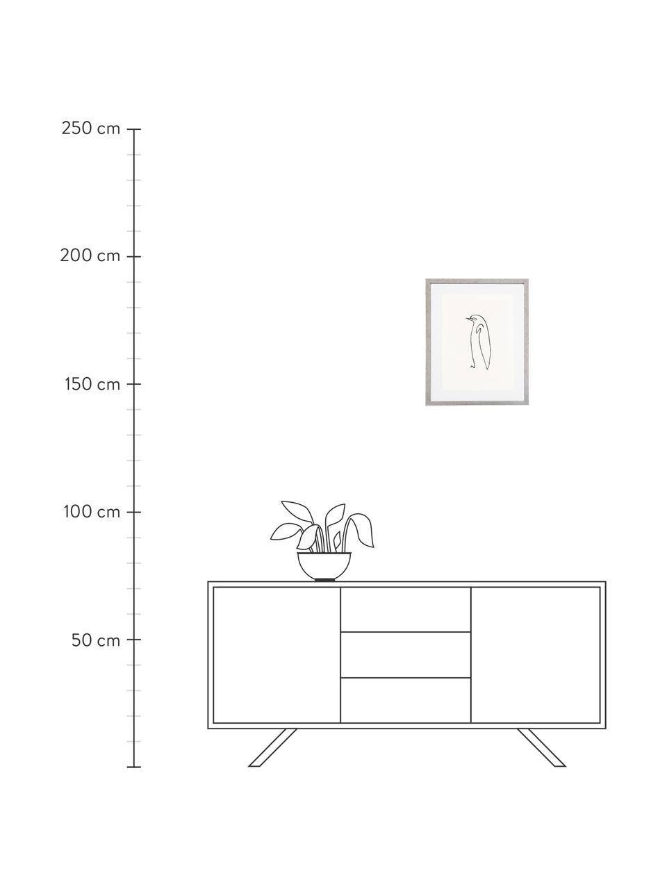 Gerahmter Digitaldruck Picasso's Pinguin, Bild: Digitaldruck, Rahmen: Kunststoff, Antik-Finish, Front: Glas, Bild: Schwarz, Weiß Rahmen: Silberfarben, 40 x 50 cm