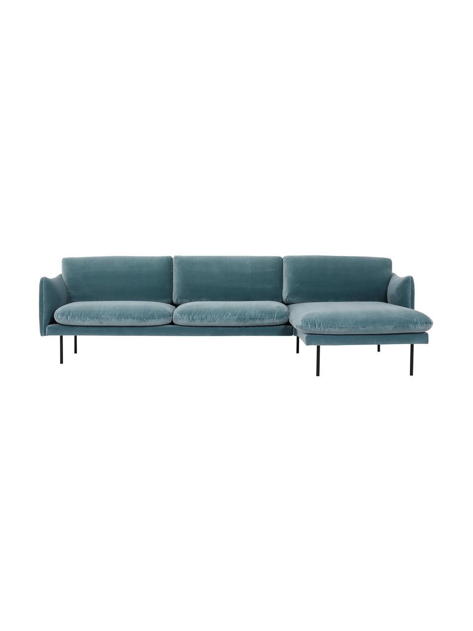 Fluwelen hoekbank Moby in turquoise met metalen poten, Bekleding: fluweel (hoogwaardig poly, Frame: massief grenenhout, Poten: gepoedercoat metaal, Fluweel turquoise, B 280 x D 160 cm