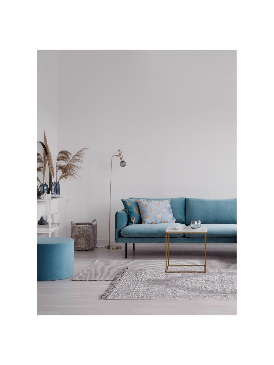 Canapé d'angle velours turquoise Moby, Velours turquoise