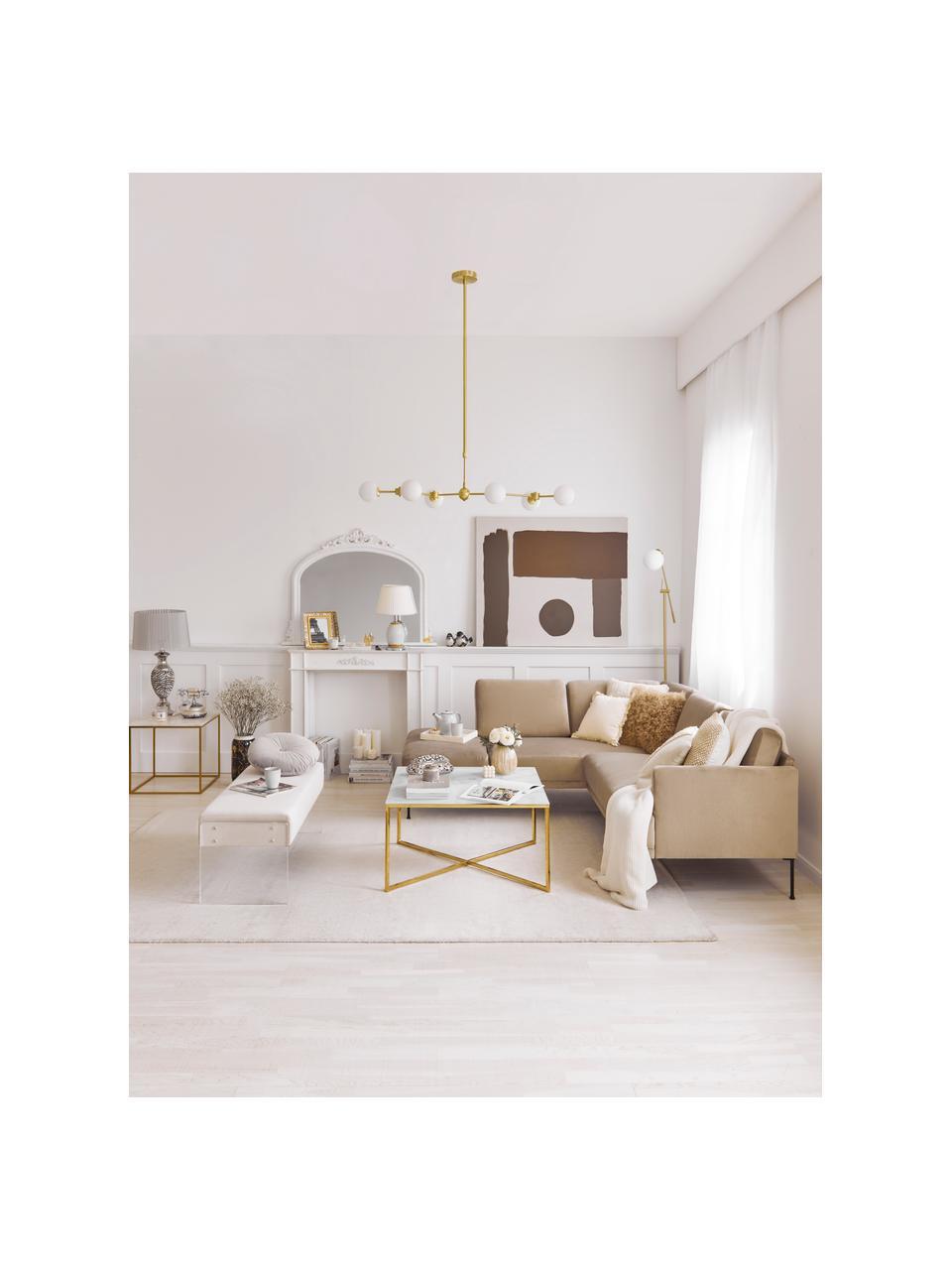 Grote hanglamp Aurelia goudkleurig, Baldakijn: vermessingd metaal, Wit, messingkleurig, 110 x 68 cm