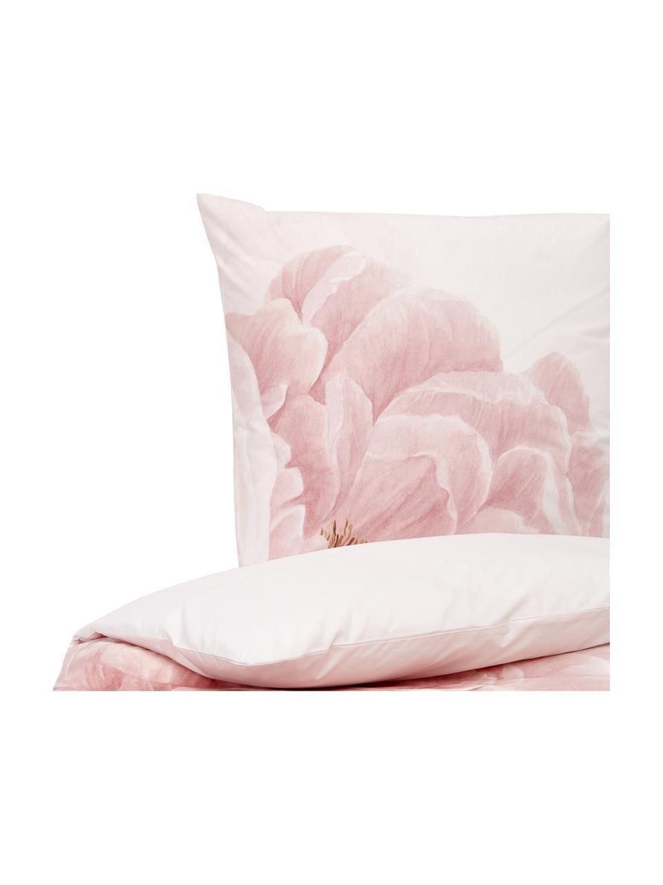 Pościel z perkalu Rosario, Biały, blady różowy, 240 x 220 cm + 2 poduszki 80 x 80 cm