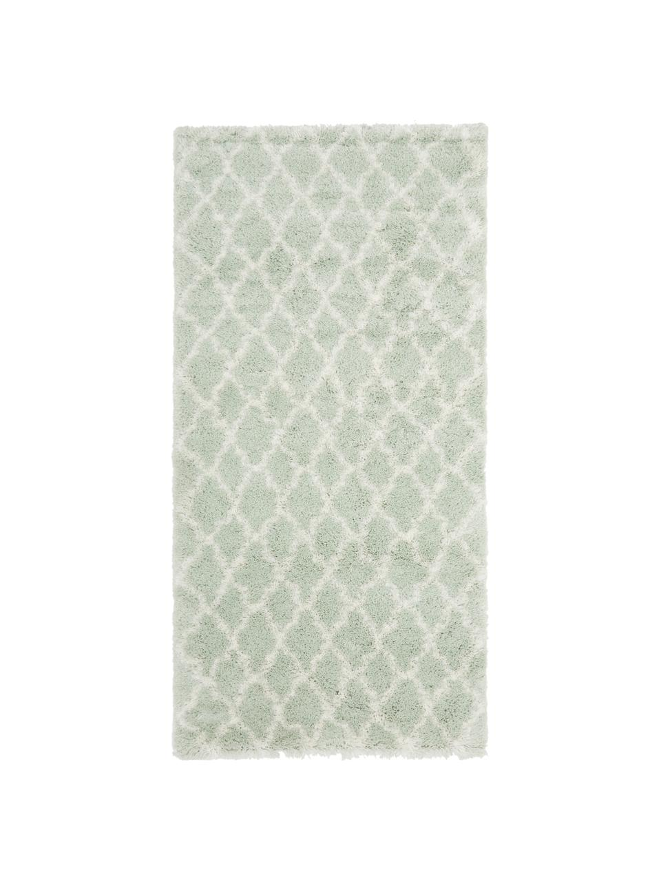 Tappeto a pelo lungo verde menta/bianco crema Mona, Retro: 78% juta, 14% cotone, 8% , Verde menta, bianco crema, Larg. 300 x Lung. 400 cm (taglia XL)