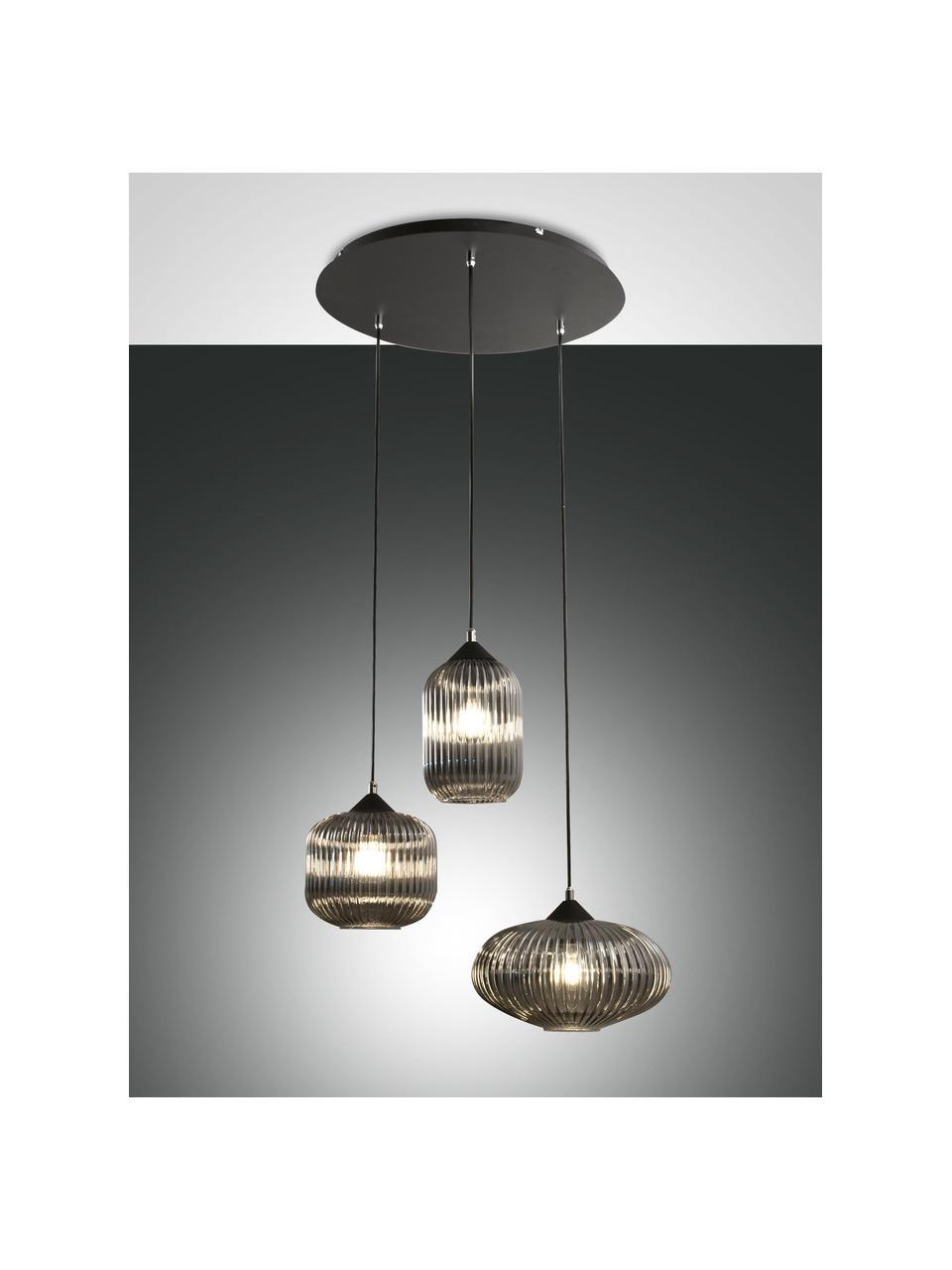 Suspension 3 lampes Dali, Noir, gris
