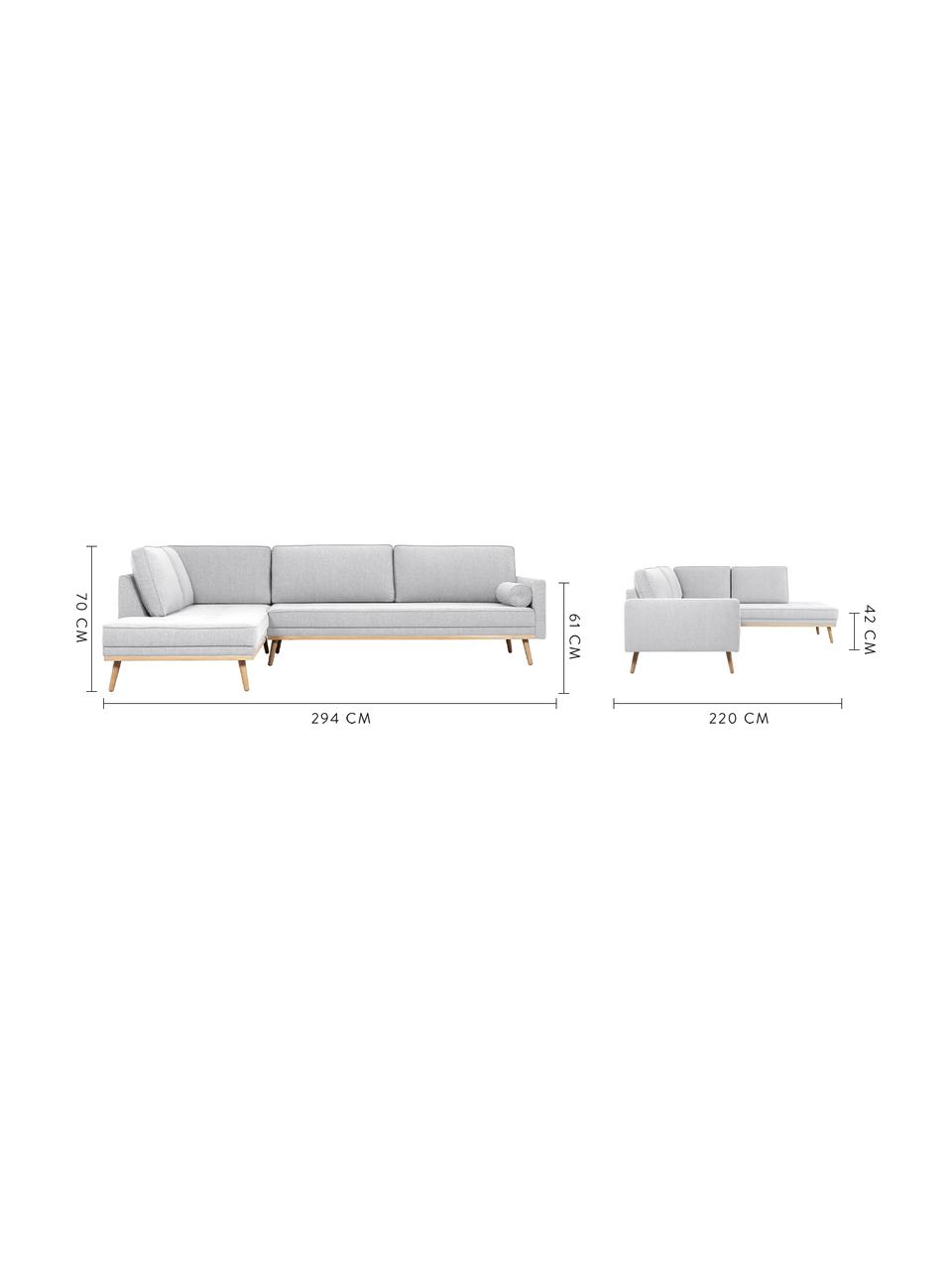 Sofa narożna  z nogami z drewna dębowego Saint (4-osobowa), Tapicerka: poliester Dzięki tkaninie, Jasny szary, S 294 x W 70 cm
