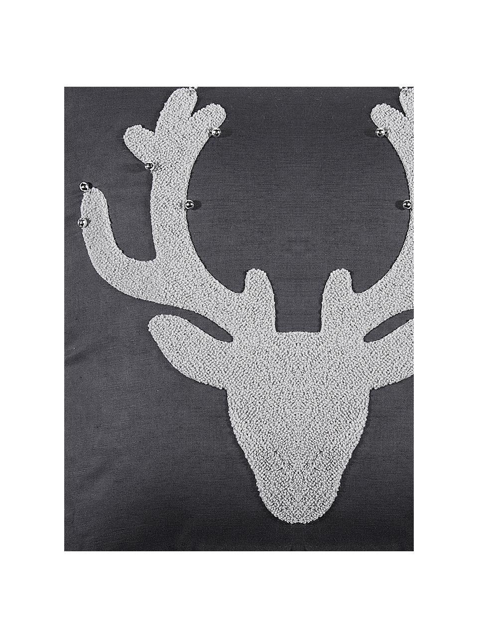Kissenhülle Bell's mit Hirschmotiv und kleinen Glöckchen, 55% Leinen, 45% Baumwolle, Anthrazit, Hellgrau, 45 x 45 cm