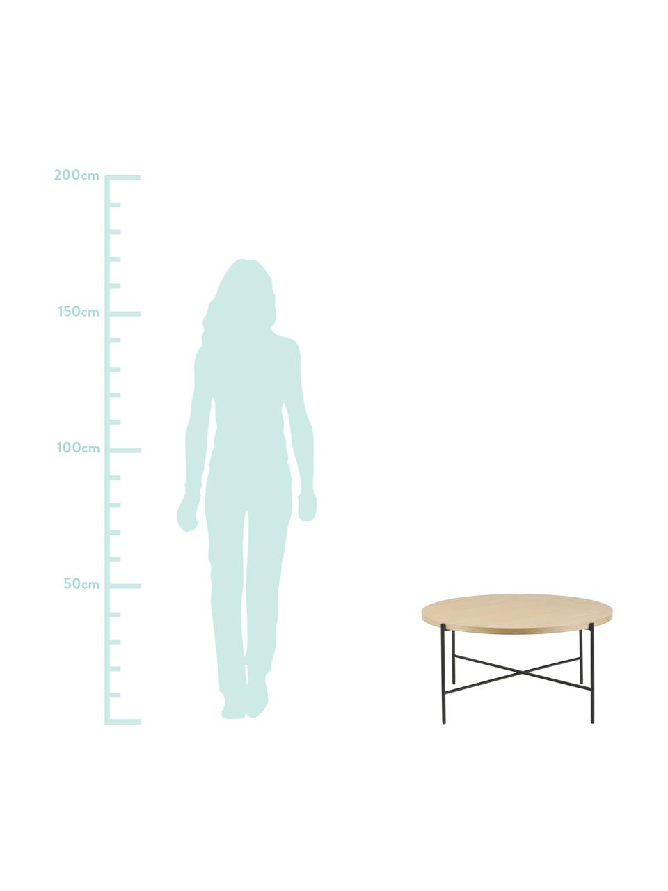 Stolik kawowy z drewnianym blatem Mica, Blat: płyta pilśniowa średniej , Stelaż: metal malowany proszkowo, Brązowy, Ø 82 x W 41 cm