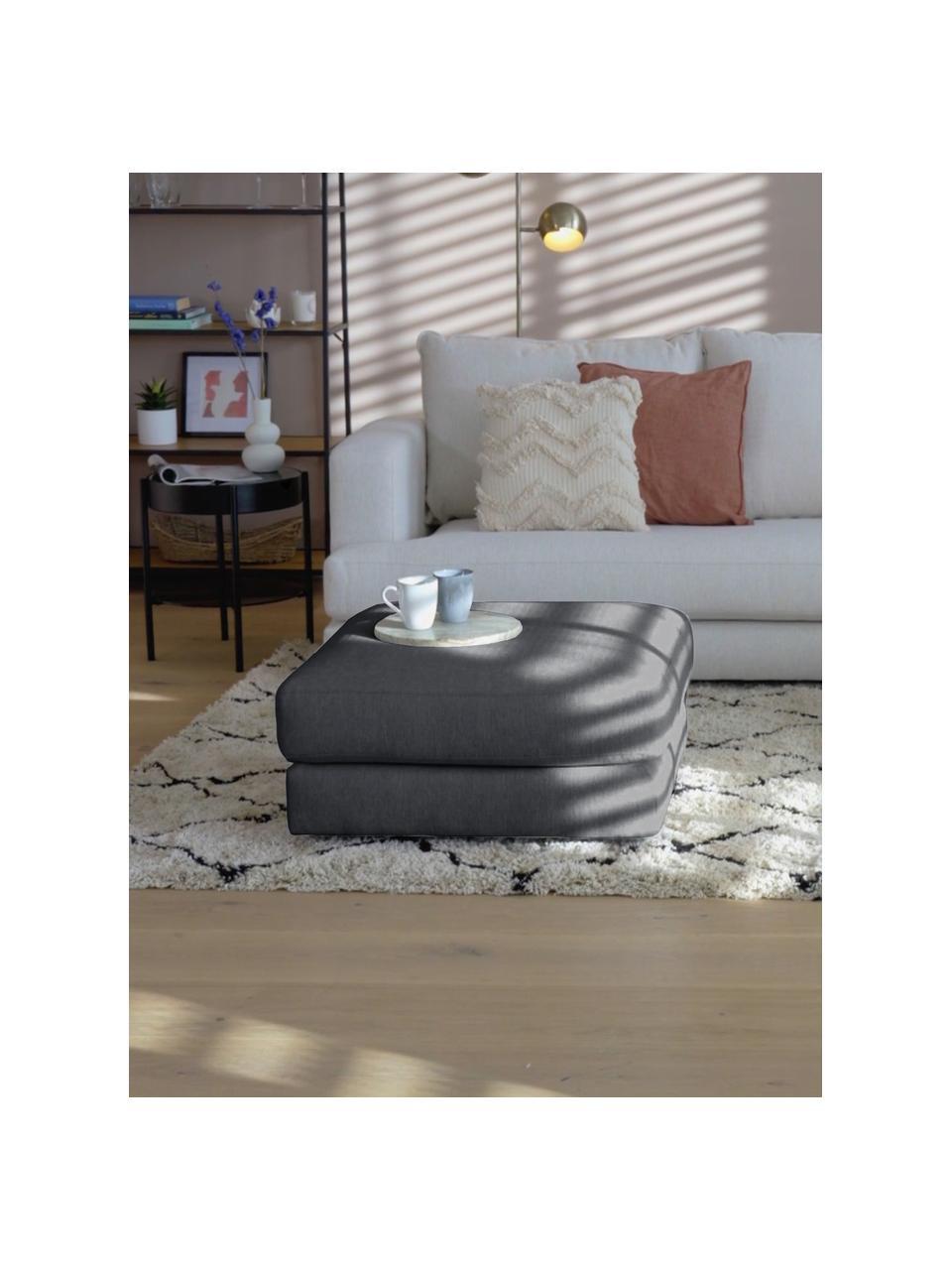 Poggiapiedi da divano in tessuto antracite Tribeca, Rivestimento: 100% poliestere Il rivest, Struttura: legno massiccio di faggio, Piedini: legno massiccio di faggio, Tessuto antracite, Larg. 80 x Alt. 40 cm