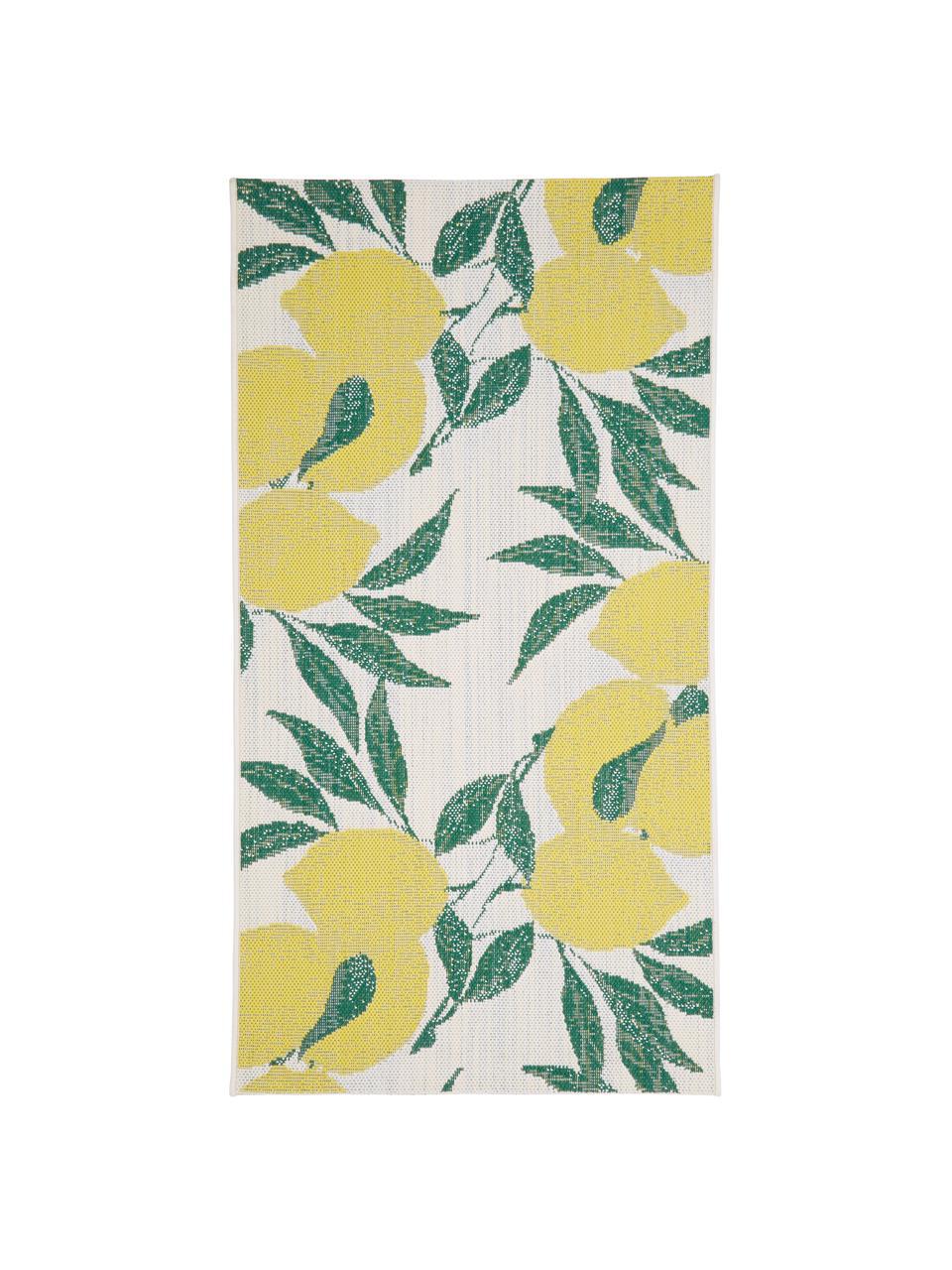 Tapis d'extérieur imprimé citron Limonia, Blanc, jaune, vert