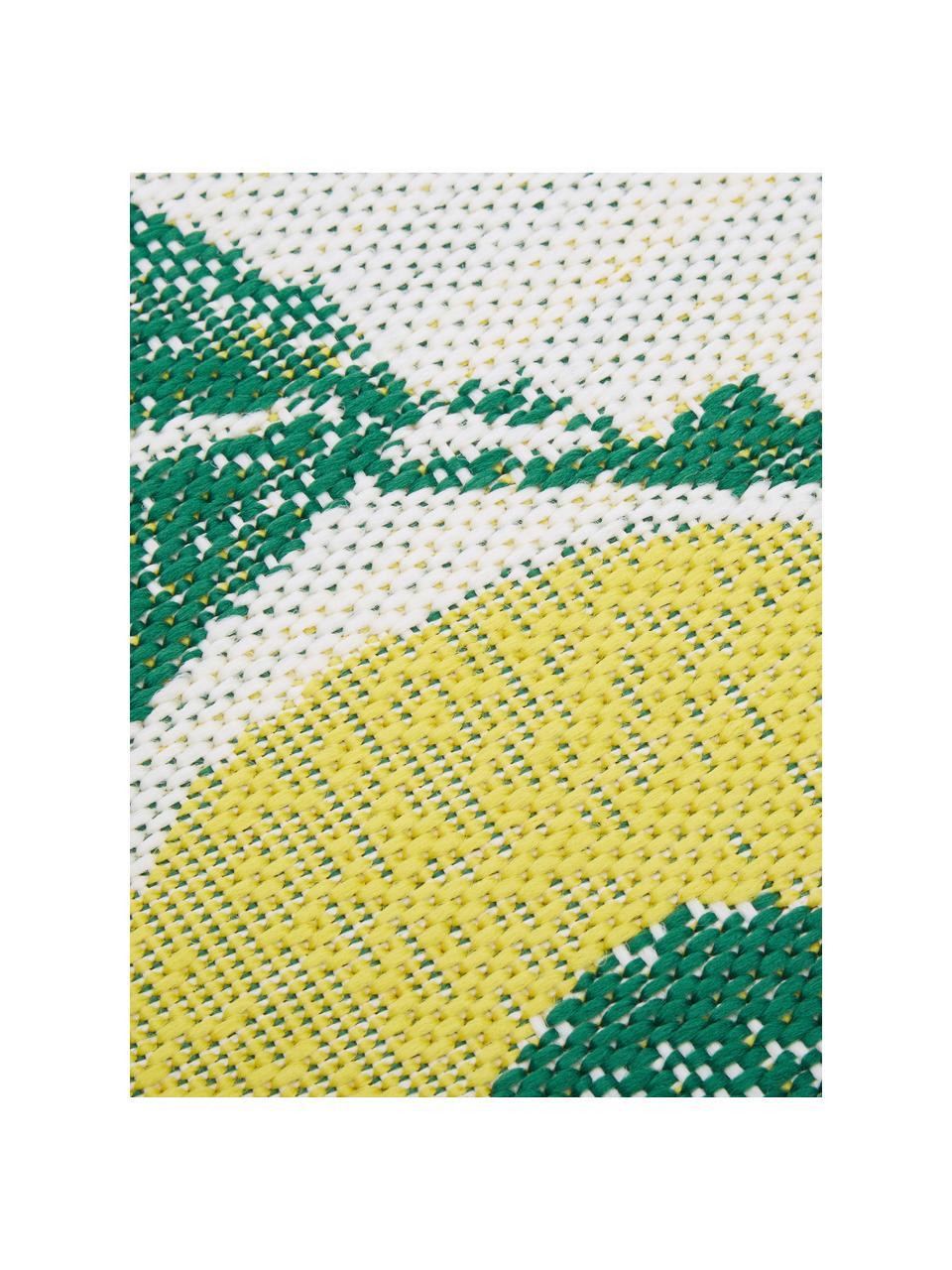 Tappeto da interno-esterno con stampa limoni Limonia, 86% polipropilene, 14% poliestere, Bianco crema, giallo, verde, Larg. 200 x Lung. 290 cm (taglia L)