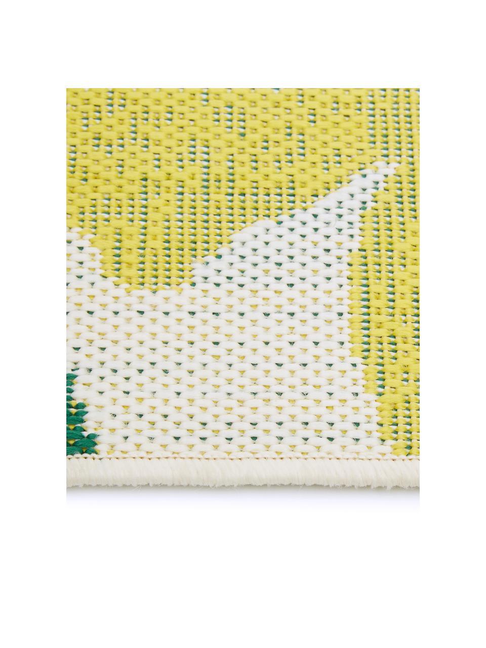 Dywan wewnętrzny/zewnętrzny Limonia, 86% polipropylen, 14% poliester, Kremowobiały, żółty, zielony, S 200 x D 290 cm (Rozmiar L)