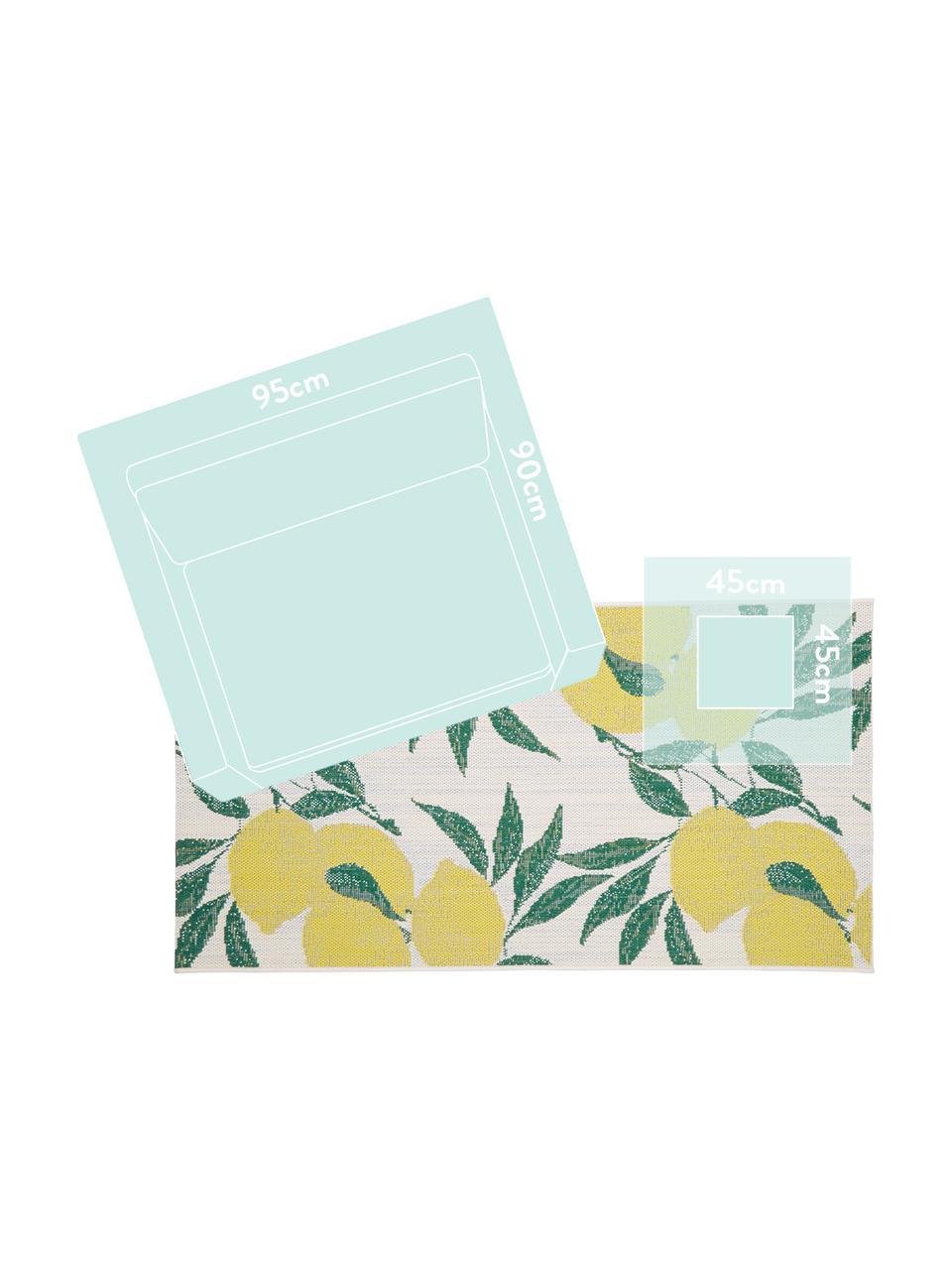 In- & Outdoor-Teppich Limonia mit Zitronen Print, 86% Polypropylen, 14% Polyester, Cremeweiß, Gelb, Grün, B 200 x L 290 cm (Größe L)