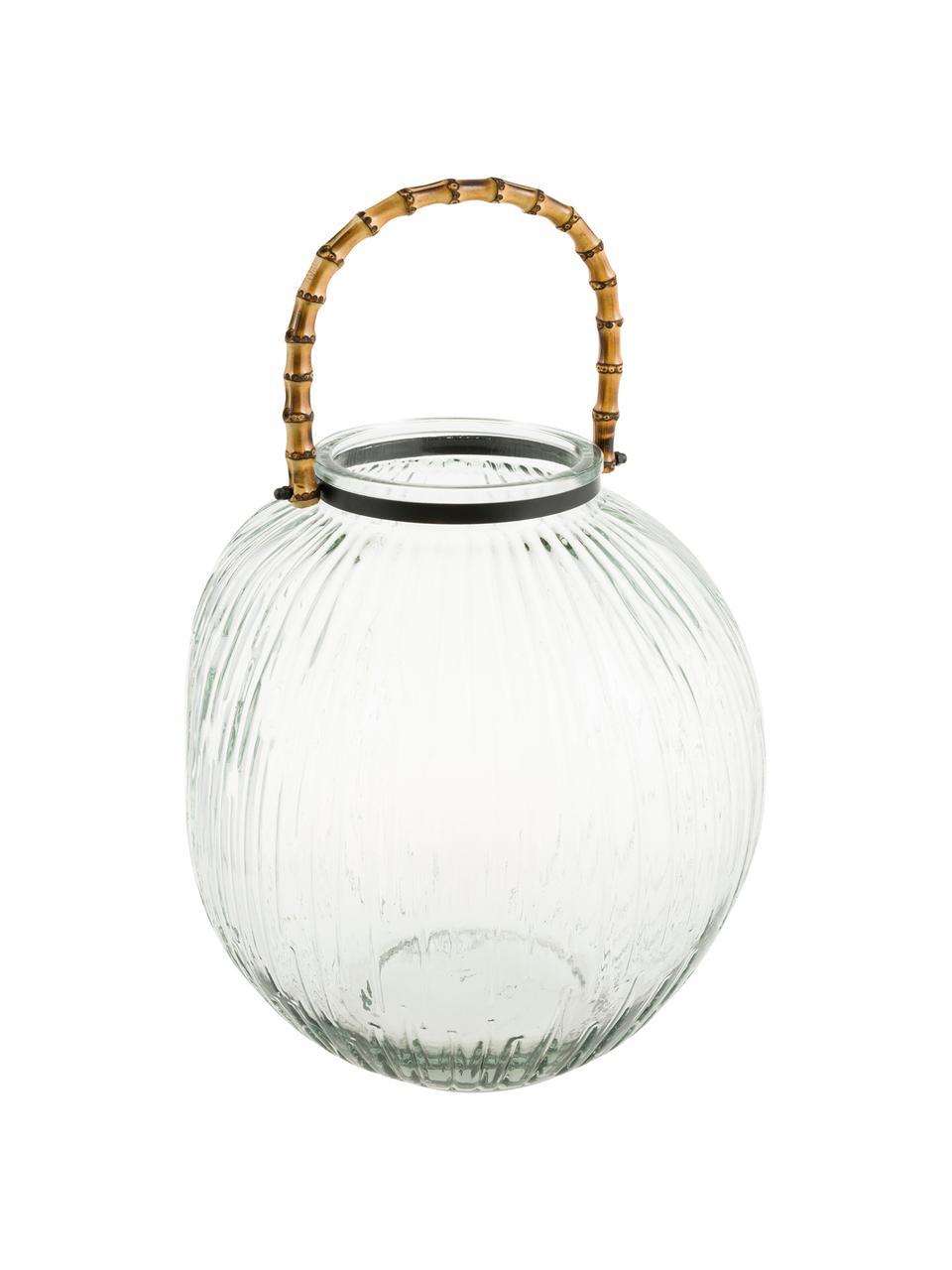 Windlicht Hyde, Windlicht: Glas, Griff: Bambus, Transparent, Braun, Ø 28 x H 32 cm