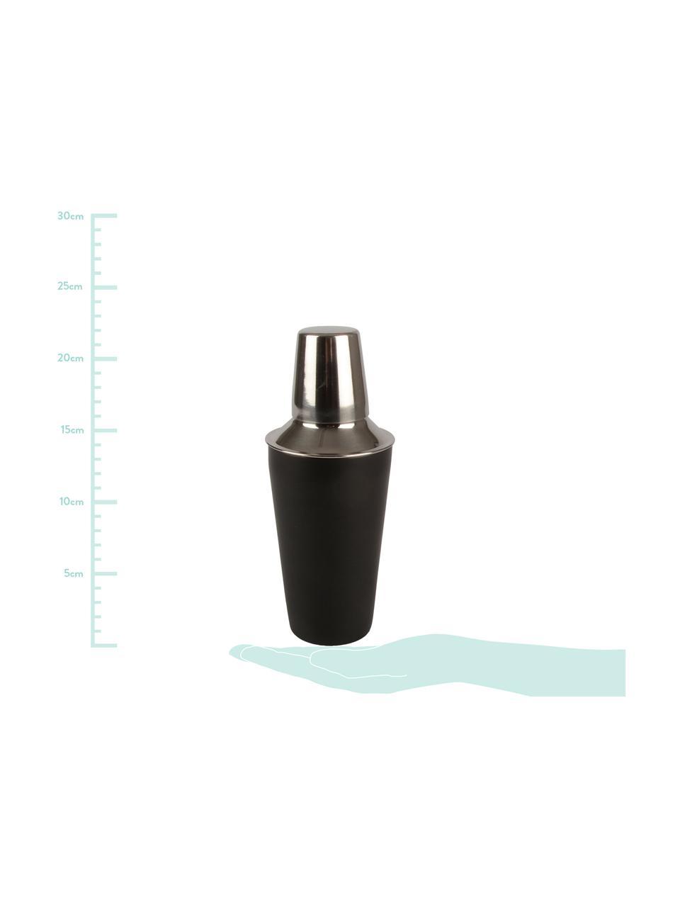 Cocktail-Shaker Stambi in Schwarz/Silber, Rostfreier Stahl, beschichtet, Schwarz, Stahl, Ø 8 x H 22 cm