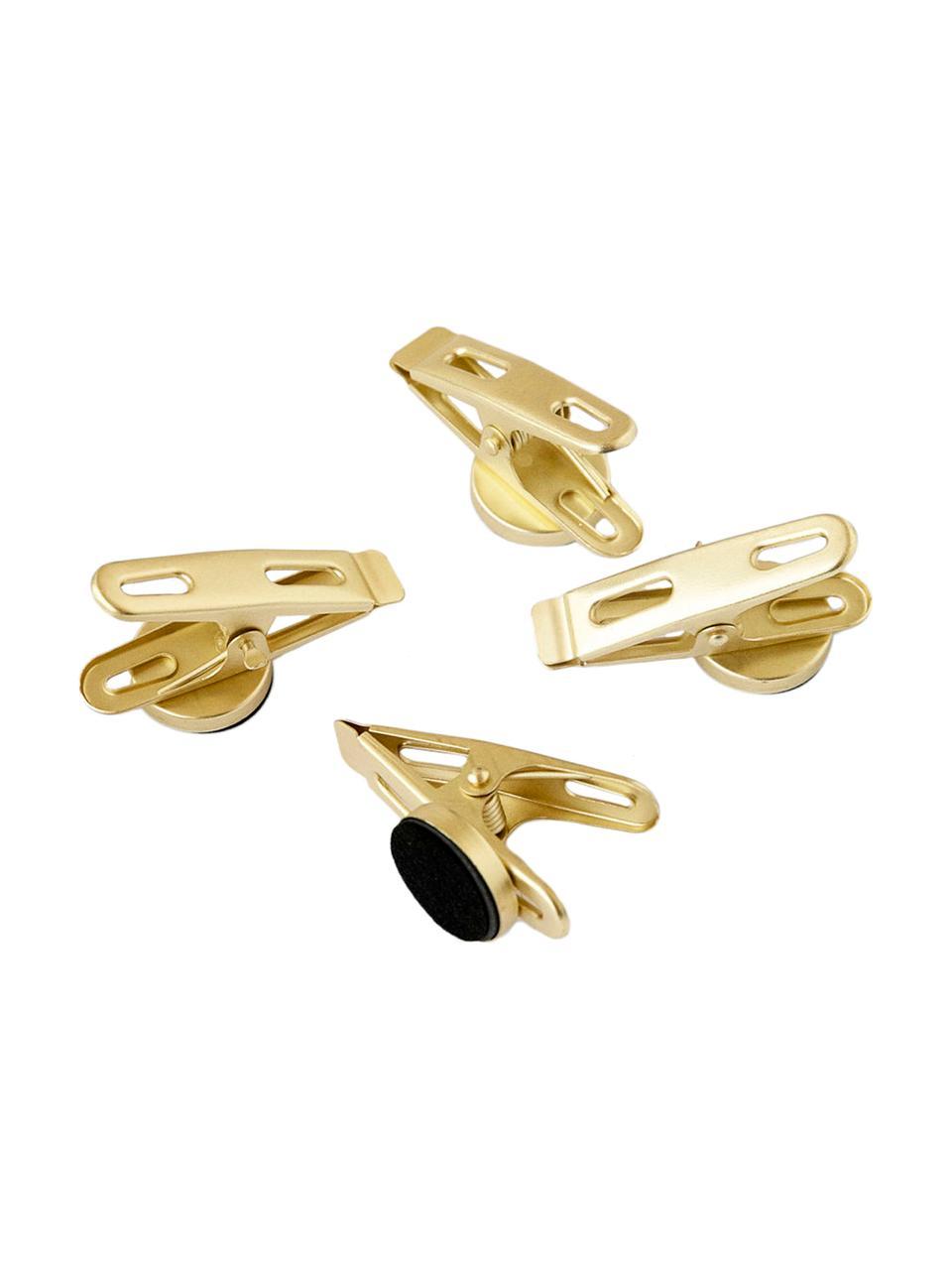 Magnetklammern Clips, 4 Stück, Metall, beschichtet und magnetisch, Messingfarben, 2 x 5 cm