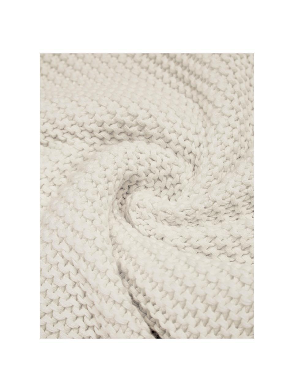 Gebreide plaid Adalyn in natuurwit, 100% katoen, Natuurwit, 150 x 200 cm