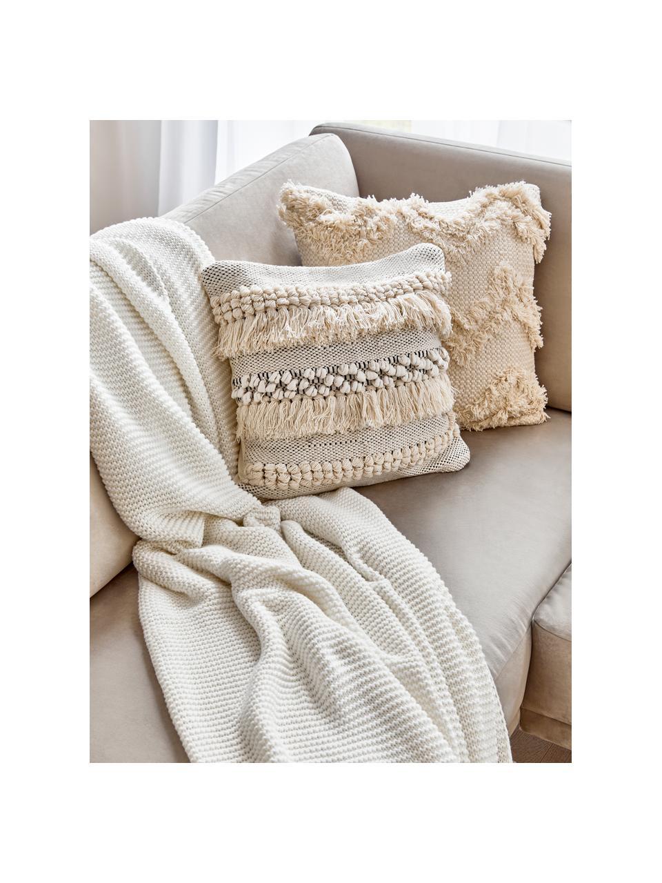 Dzianinowy koc z bawełny organicznej  Adalyn, 100% bawełna organiczna, certyfikat GOTS, Naturalny biały, S 150 x D 200 cm