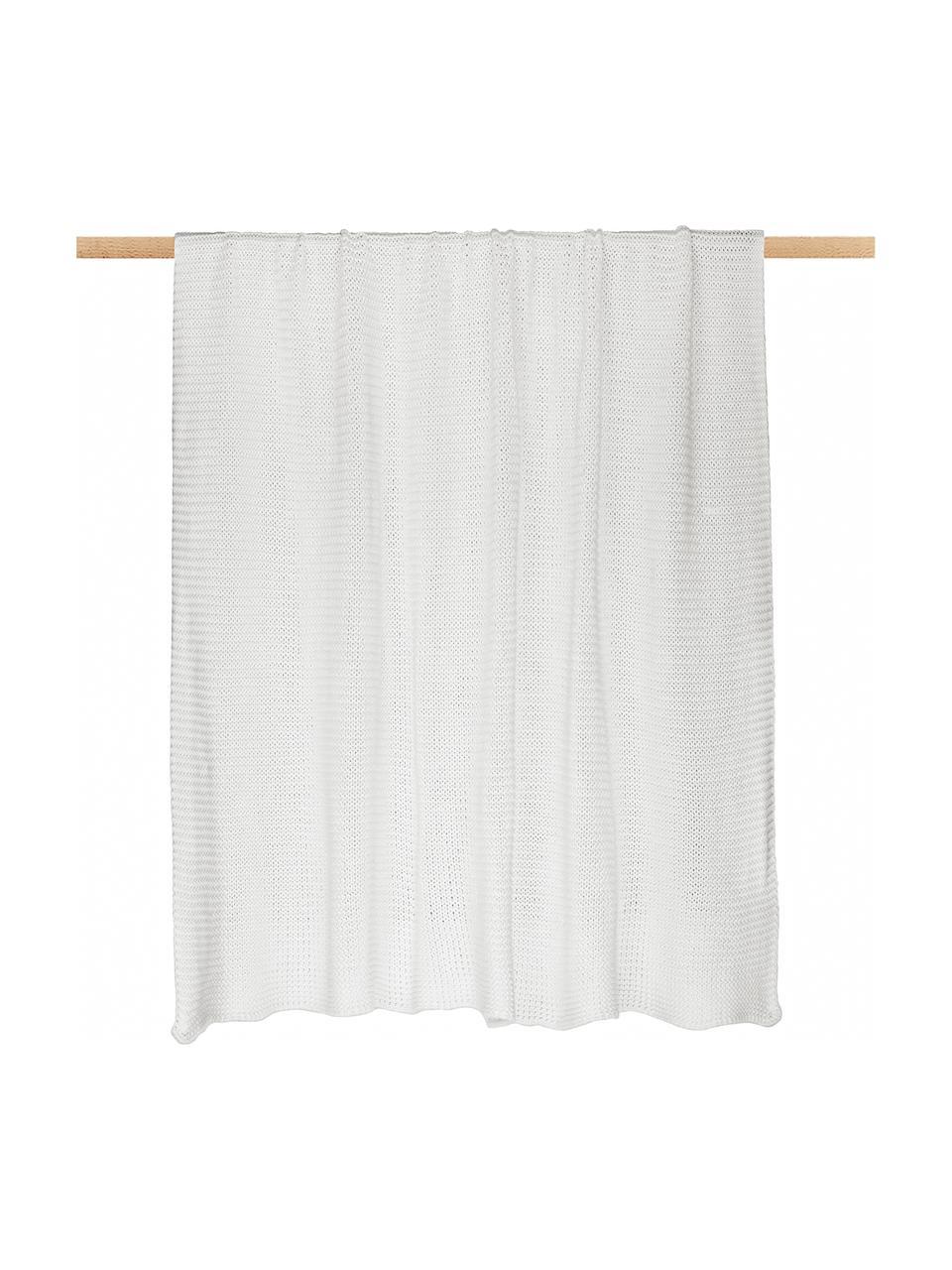 Coperta a maglia in cotone biologico bianco Adalyn, 100% cotone biologico, certificato GOTS, Bianco naturale, Larg. 150 x Lung. 200 cm