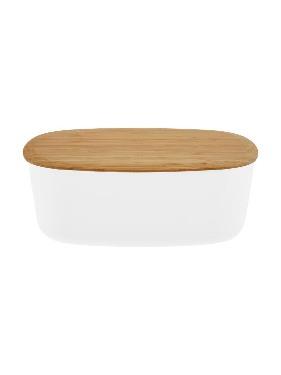 Designer Brotkasten Box-It in Weiß mit Bambusdeckel, Deckel: Bambus, Dose: Weiß Deckel: Braun, 35 x 12 cm