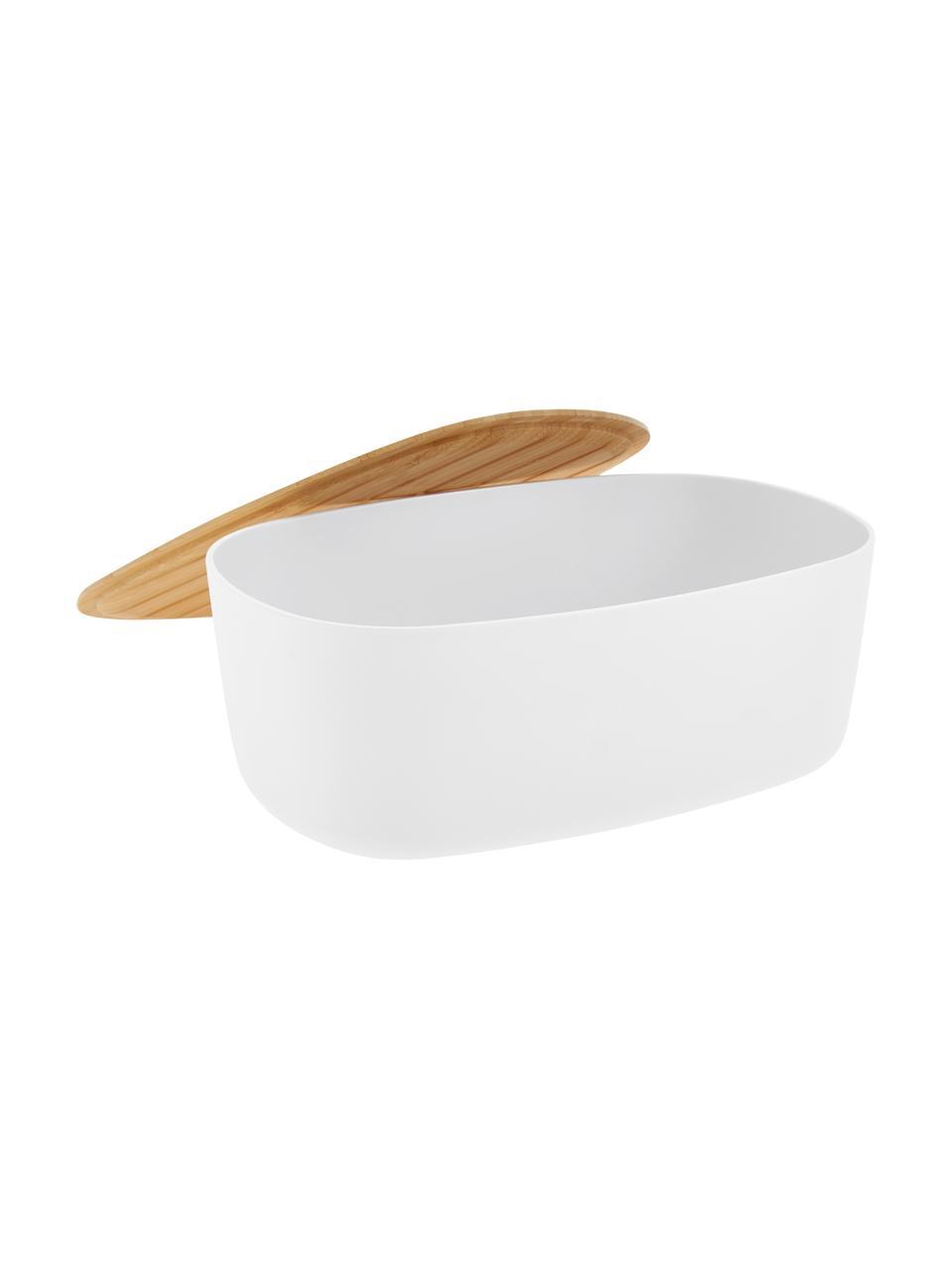 Designer Brotkasten Box-It in Weiß mit Schneidebrett als Deckel, Deckel: Bambus, Dose: Weiß Deckel: Braun, 35 x 12 cm