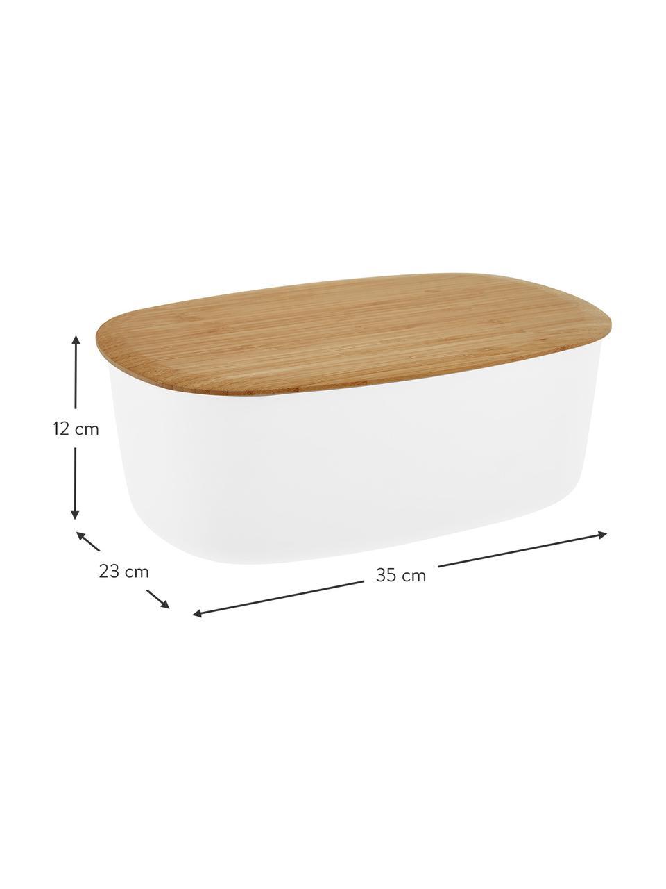 Portapane bianco di design con tagliere come coperchio Box-It, Coperchio: bambù, Contenitore: bianco Coperchio: marrone, Larg. 35 x Alt. 12 cm