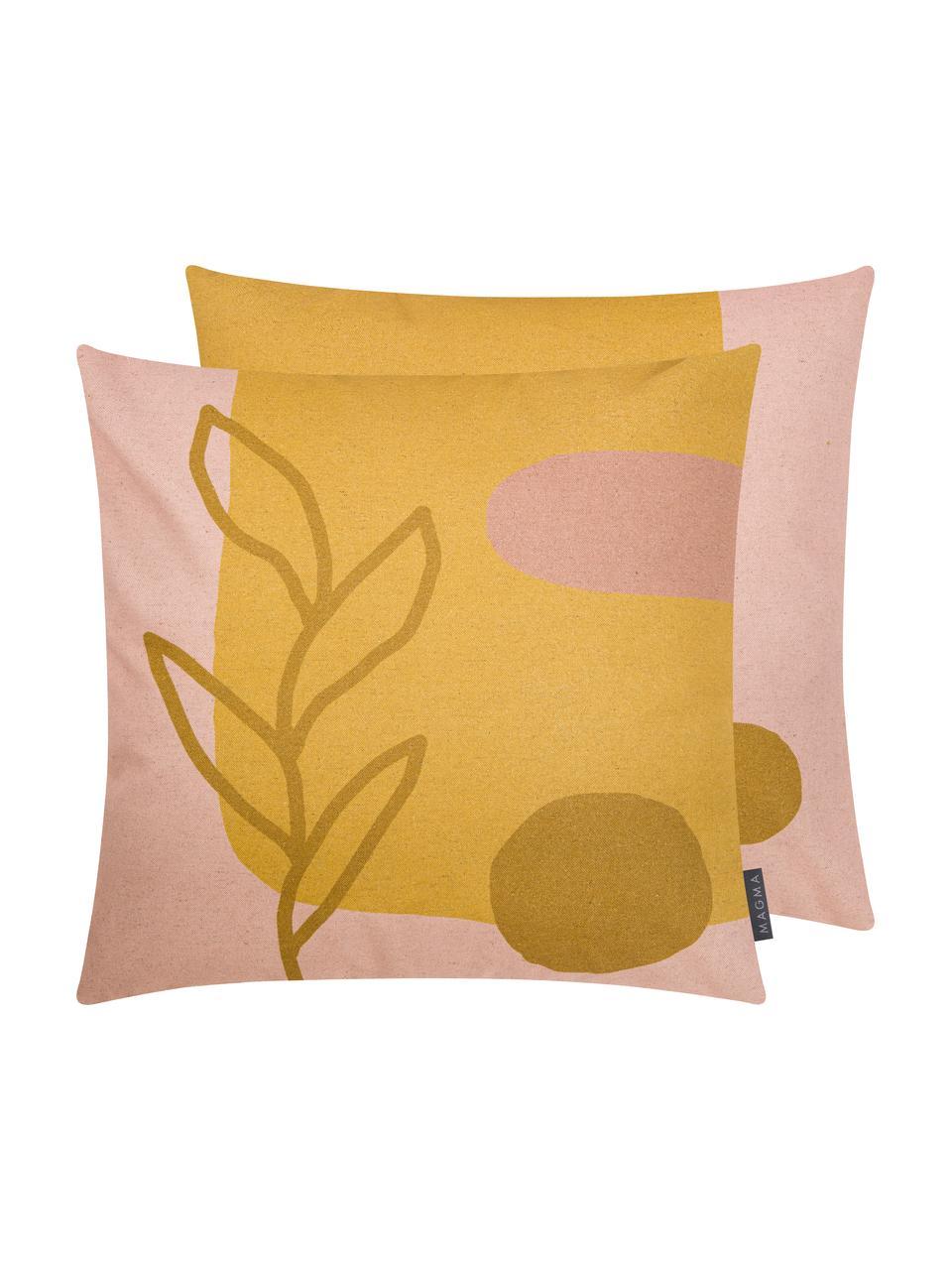 Dubbelzijdige kussenhoes Images met abstract motief, 85% katoen, 15% linnen, Geel, roze, lichtbruin, 50 x 50 cm