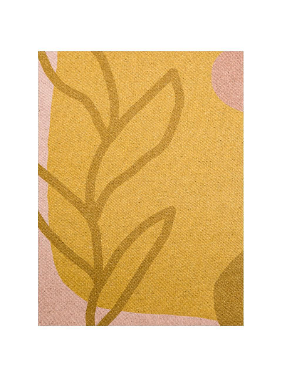 Kissenhülle Images mit abstraktem Motiv, 85% Baumwolle, 15% Leinen, Gelb, Rosa, Hellbraun, 50 x 50 cm