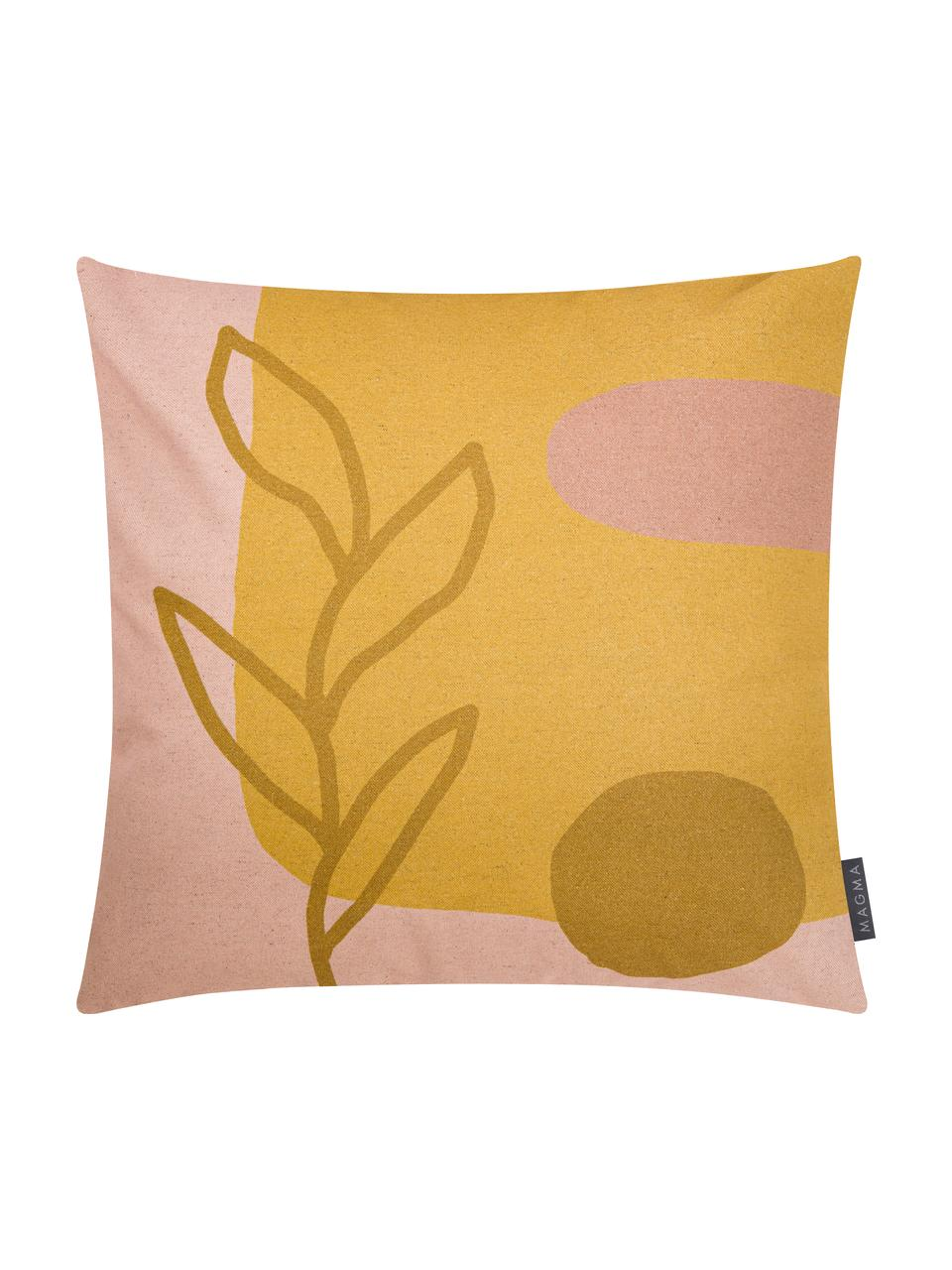 Federa arredo con motivo astratto Images, 85% cotone, 15% lino, Giallo, rosa, marrone chiaro, Larg. 50 x Lung. 50 cm