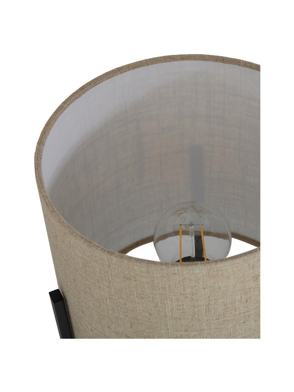 Lampada da tavolo in lino Piper, Paralume: 85% lino, 15% terylen, Base della lampada: metallo verniciato a polv, Beige, Ø 22 x Alt. 38 cm